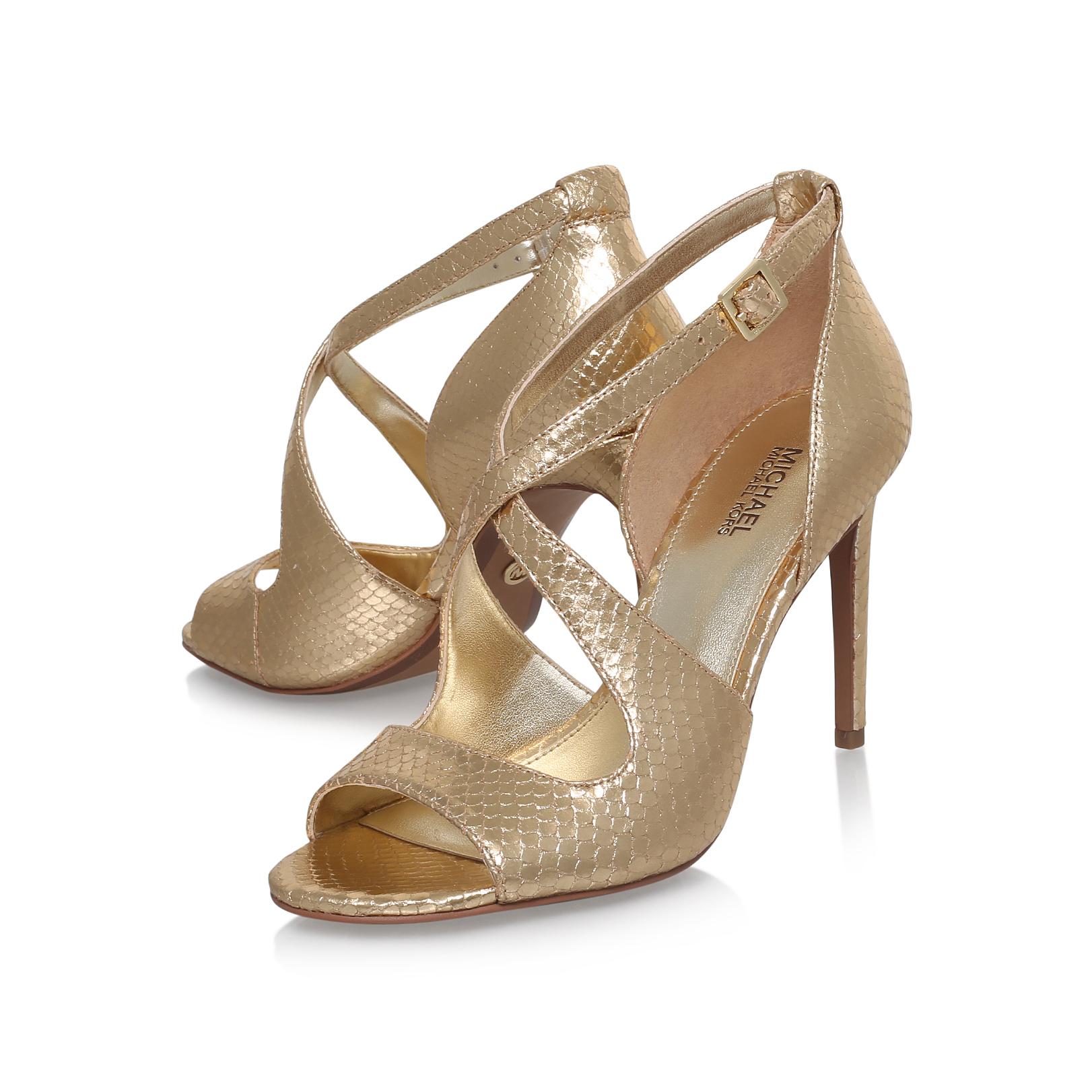 estee sandal michael michael kors estee gold high heel. Black Bedroom Furniture Sets. Home Design Ideas