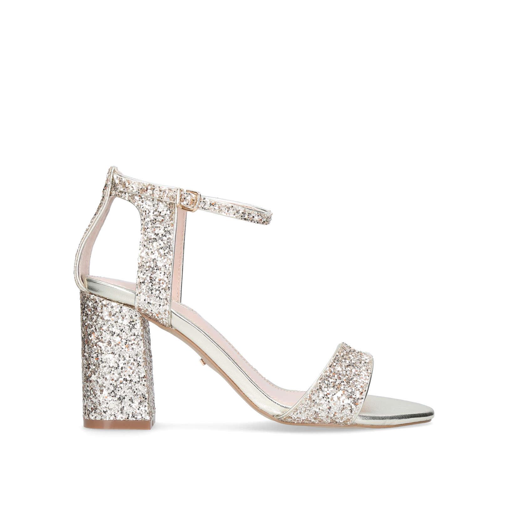 Gigi Gold Mid Heel Sandals By Carvela   Kurt Geiger