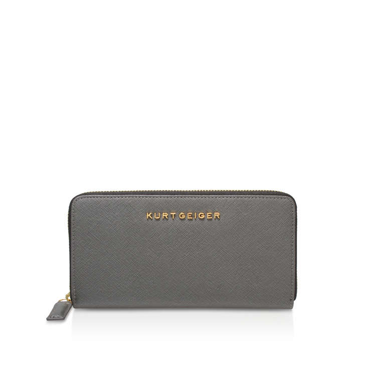 Leather Zip Around Wallet Grey Leather Purse By Kurt
