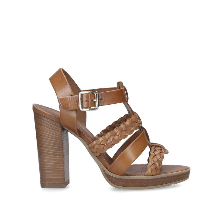 Krill Tan Block Heeled Sandals By Carvela Kurt Geiger