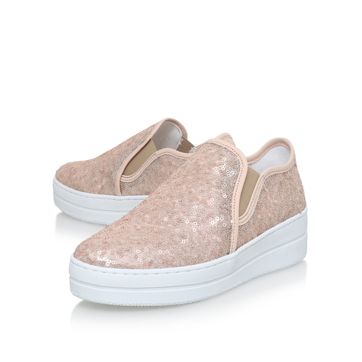 Louie Pink Flat Low Top Trainers By Kurt Geiger London