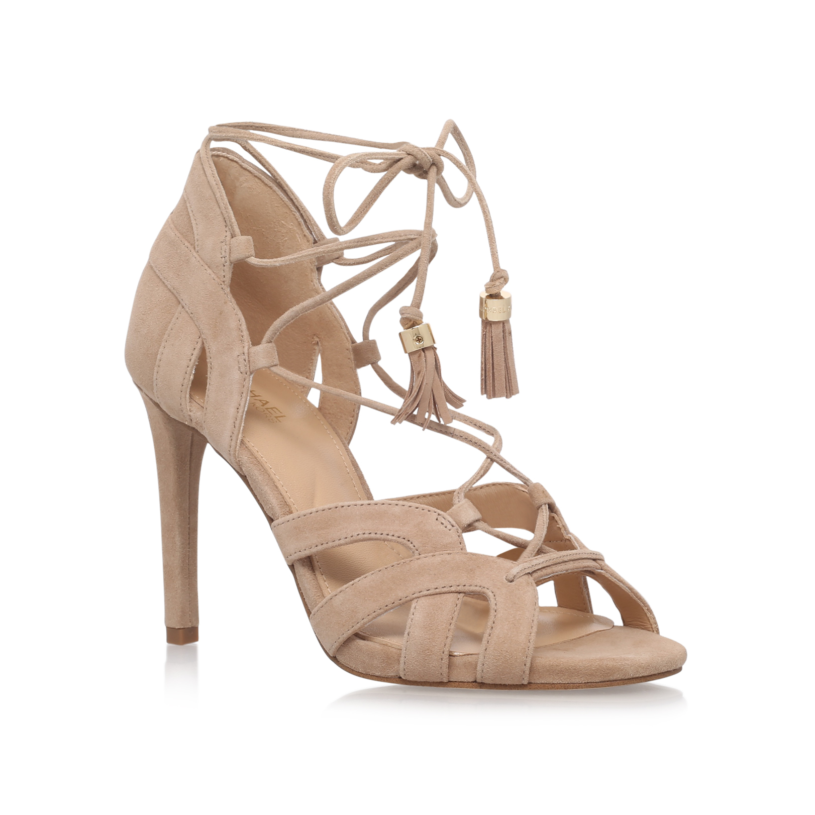 148bf9e94 MIRABEL SANDAL Michael Michael Kors Mirabel Taupe Suede high Heel Occasion  Shoes by MICHAEL MICHAEL KORS