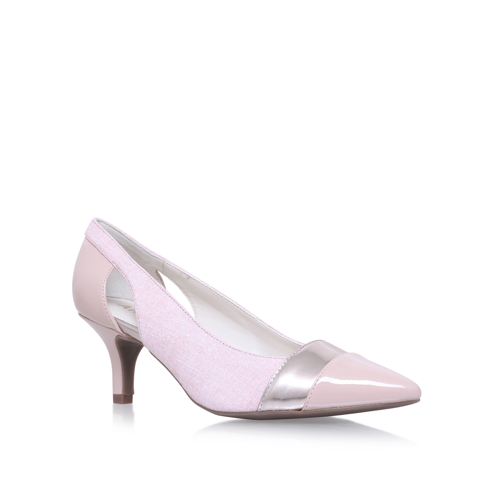 ecb638041b1 FIRST CLASS Anne Klein First Class Pale Pink Leather Mid Heel Court Shoes  by ANNE KLEIN