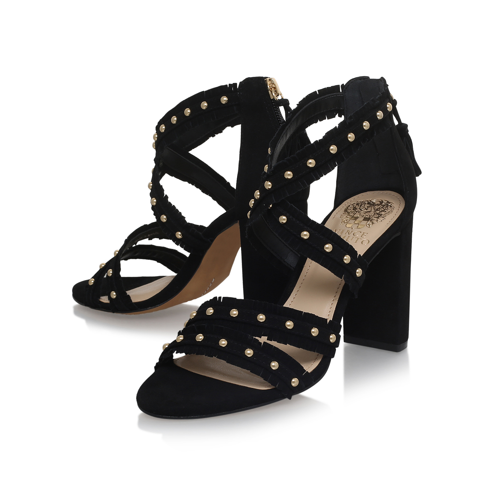 f7797d9c8a5 MACHILA Vince Camuto Machila Black Suede High Heel Sandals Block ...