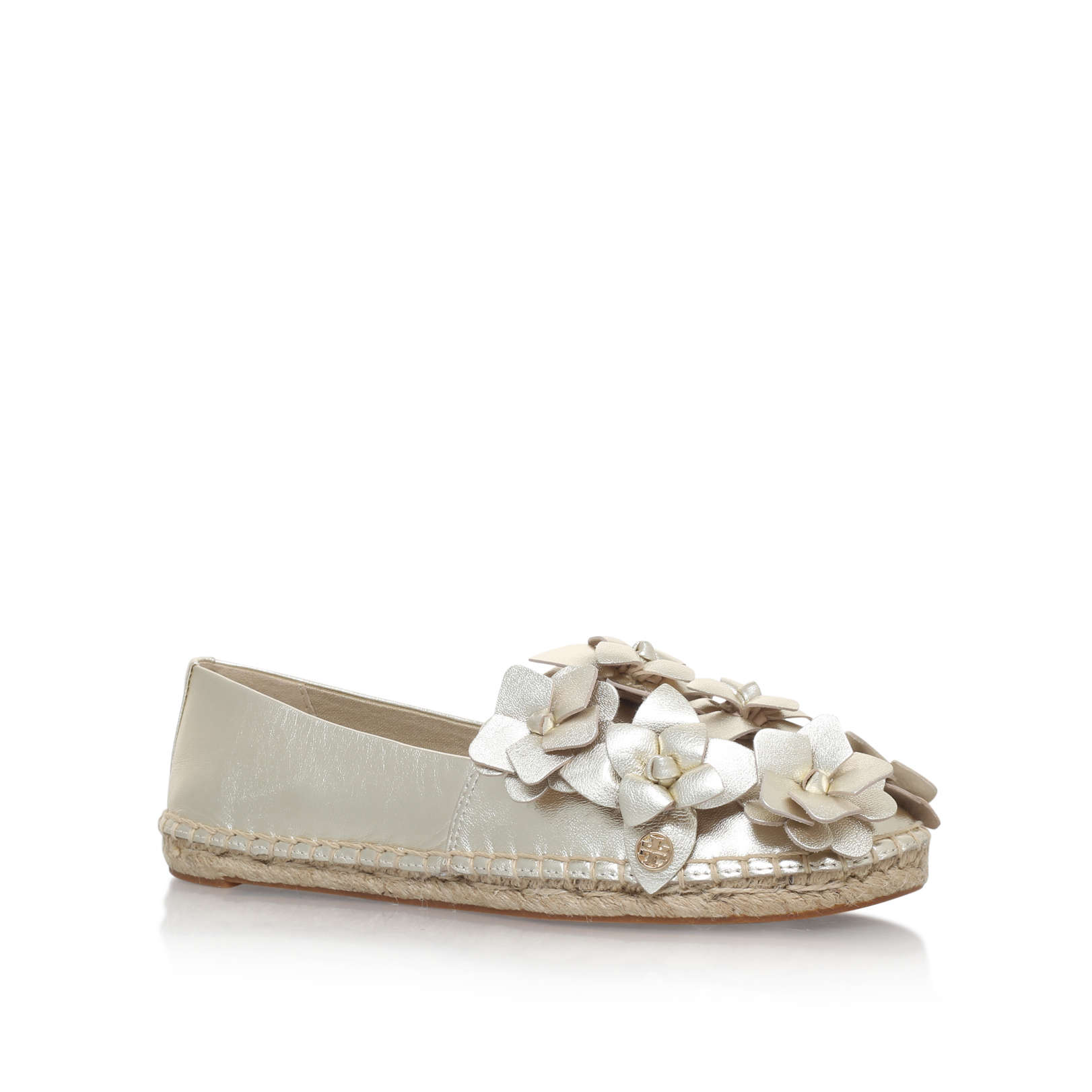 0c8330afca6e54 BLOSSOM ESPADRILLE  Tory Burch Blossom Espadrille Gold Leather Sandal  by  TORY BURCH