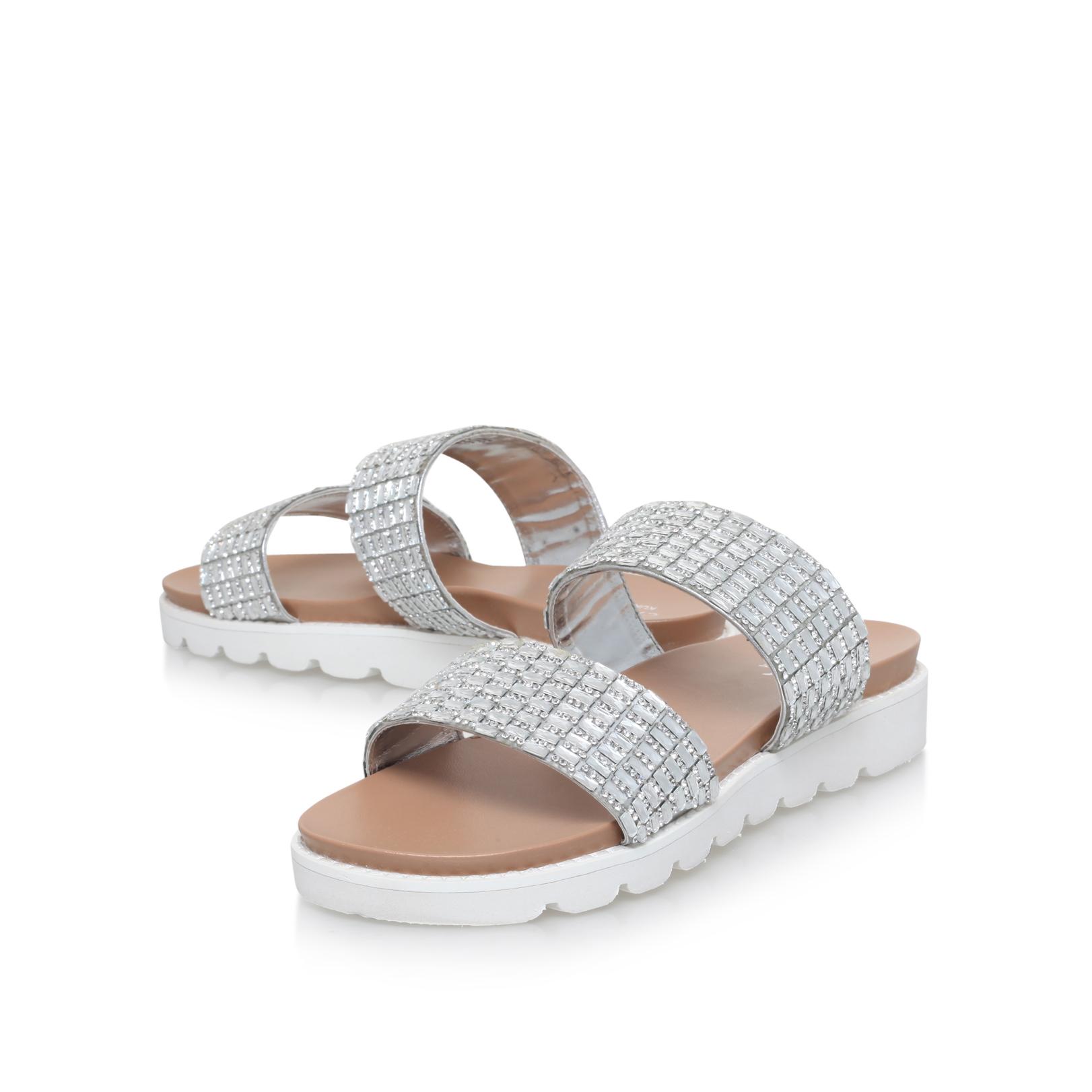 SUMMER Carvela Summer Silver Flat Summer Sandal Slider/Mule Flatform by  CARVELA