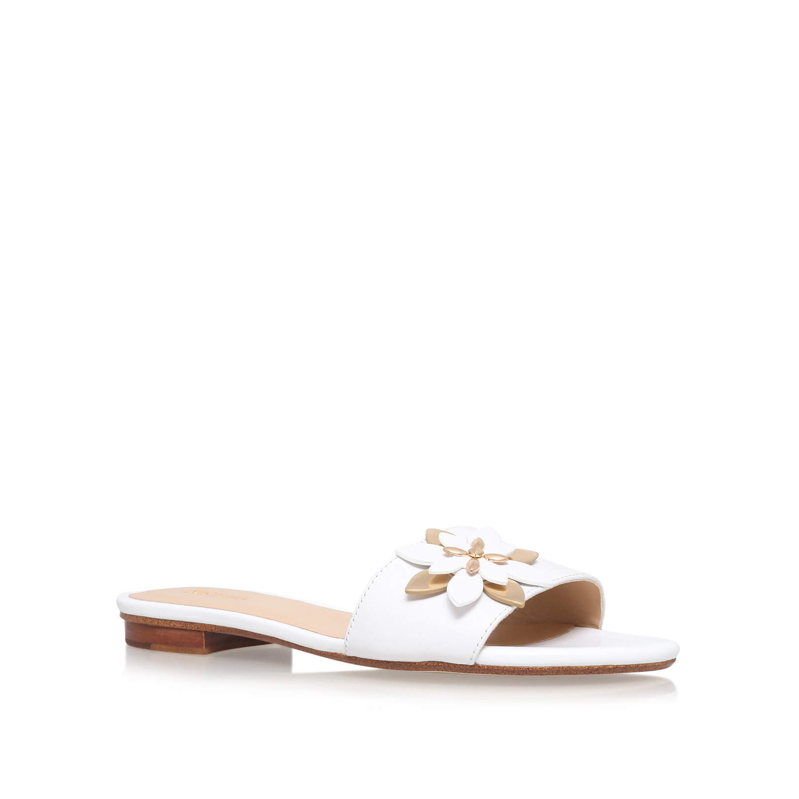 6aad9678a68 HEIDI FLAT SANDAL Michael Michael Kors Heidi White Leather   Other Summer Flat  Sandals by MICHAEL MICHAEL KORS