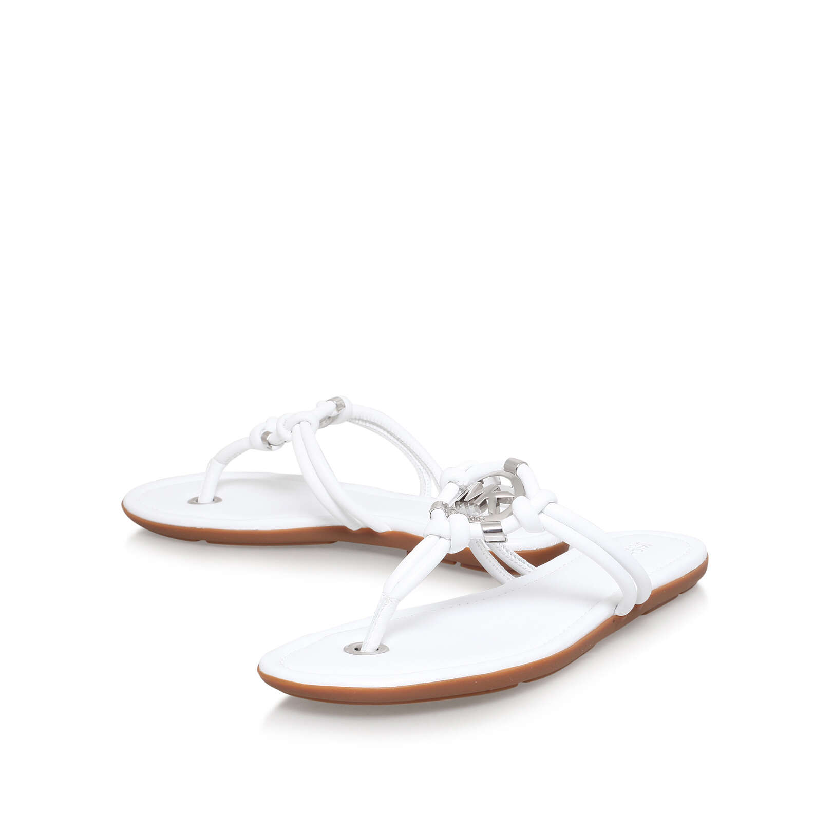 KINLEY THONG Michael Michael Kors Kinley Thong White Leather Flat Sandals  by MICHAEL MICHAEL KORS