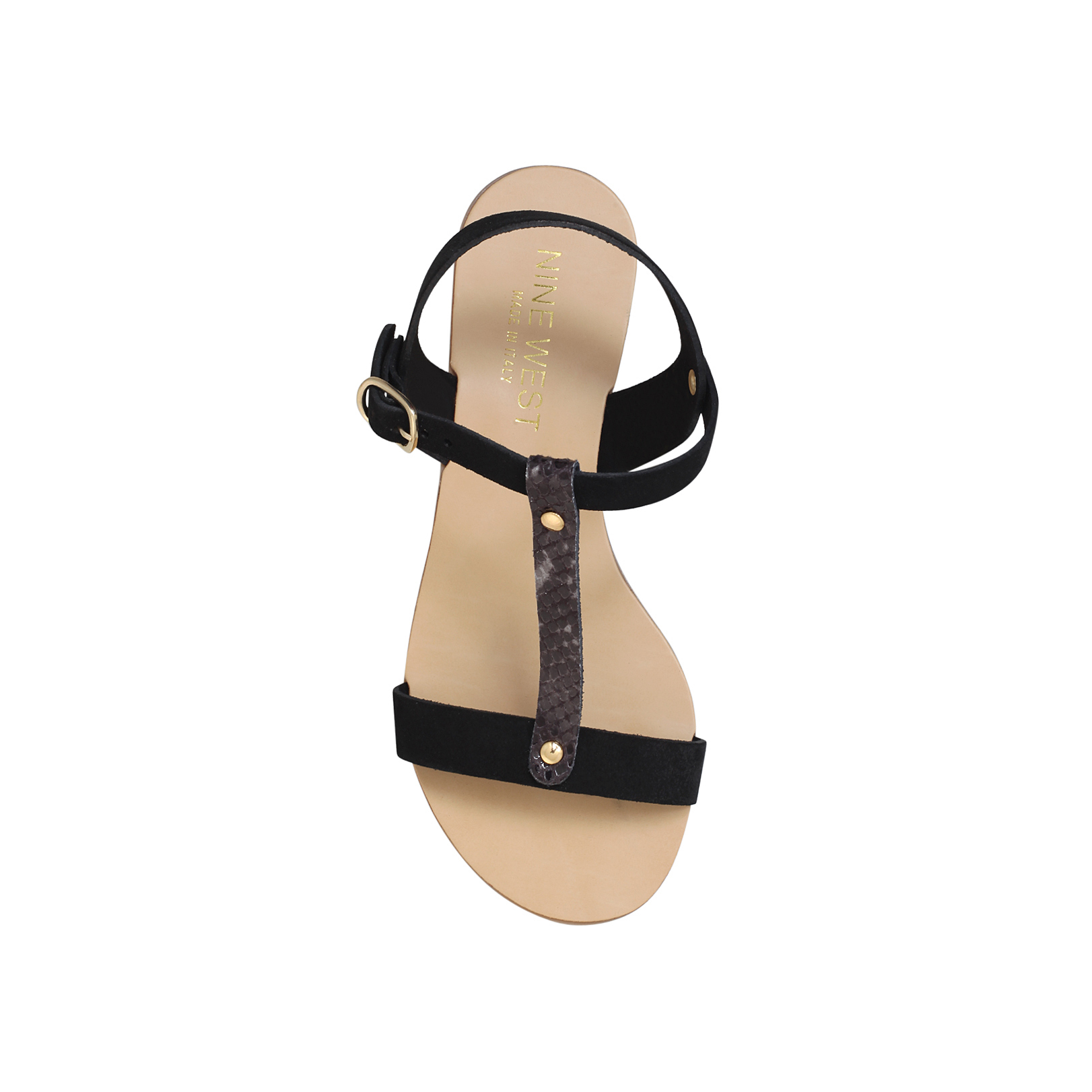 199f4ed5f FELIX Nine West Felix Black & Other Leather Flat Sandals by NINE WEST