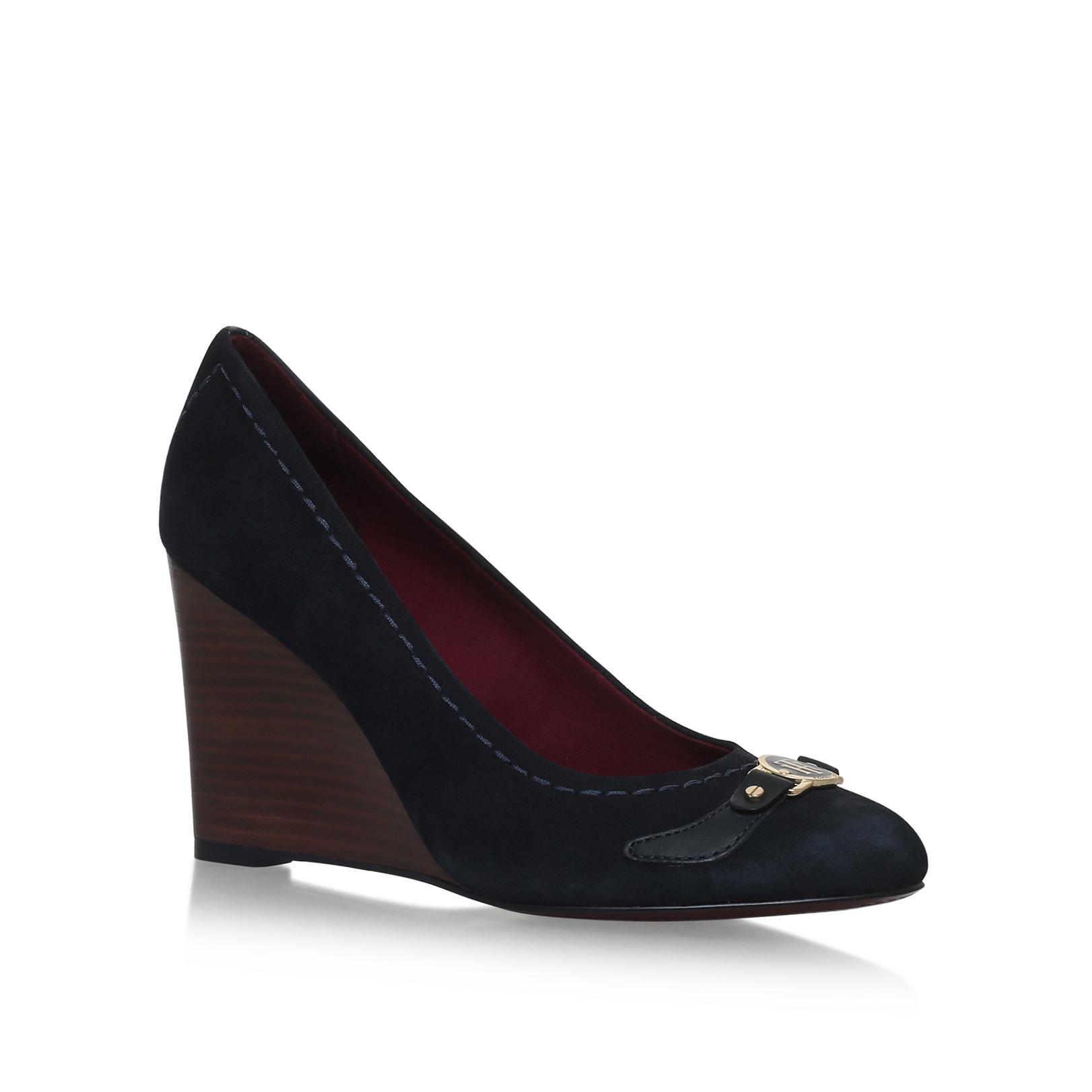 lola tommy hilfiger lola dark blue suede leather high heel. Black Bedroom Furniture Sets. Home Design Ideas