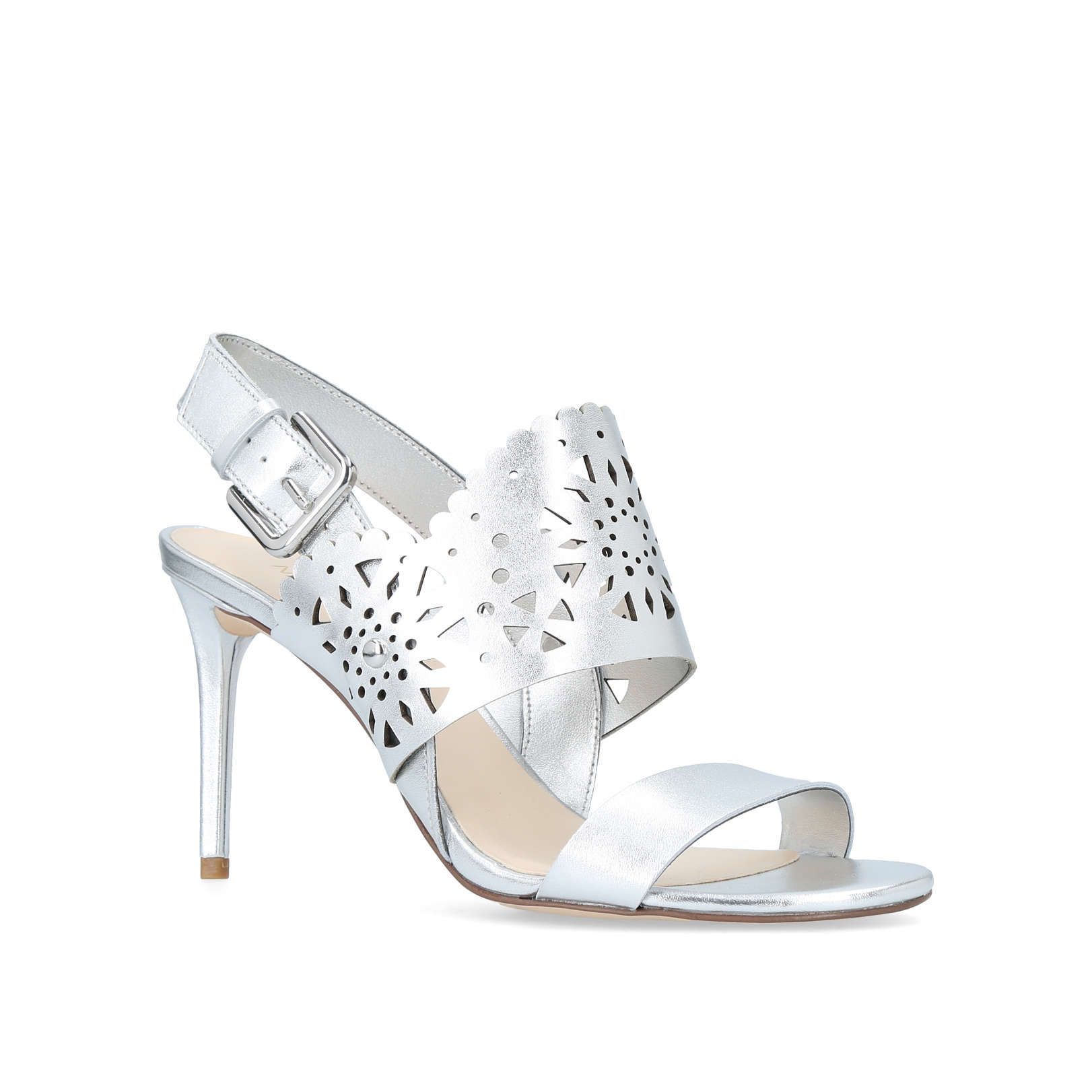 603ade018c59 RADHUNI Nine West Radhuni Silver Leather Occasion Heels