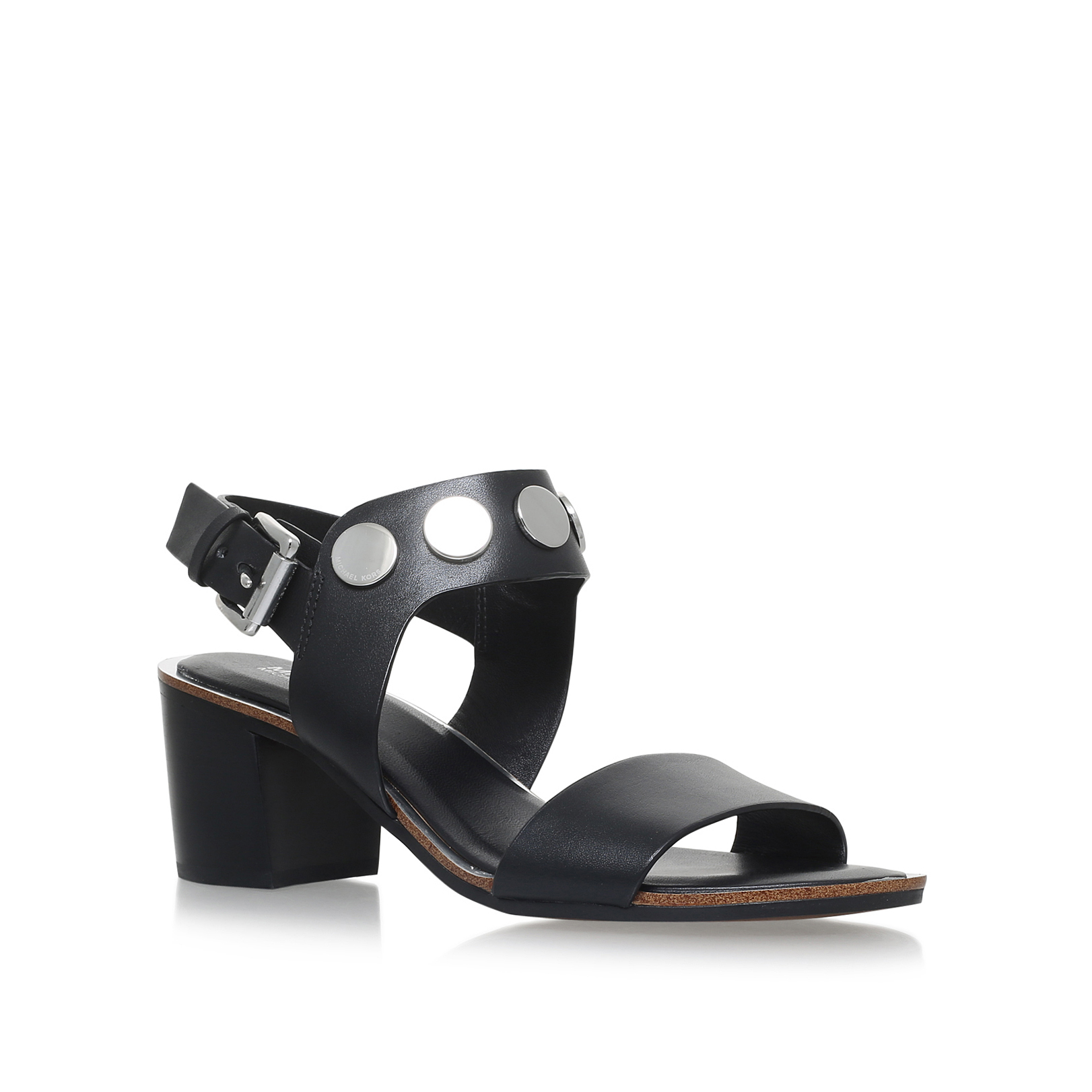 28b6e078b1d4 REGGIE MID Michael Michael Kors Reggie Black Leather Mid Heel Sandals Block  Heel by MICHAEL MICHAEL KORS