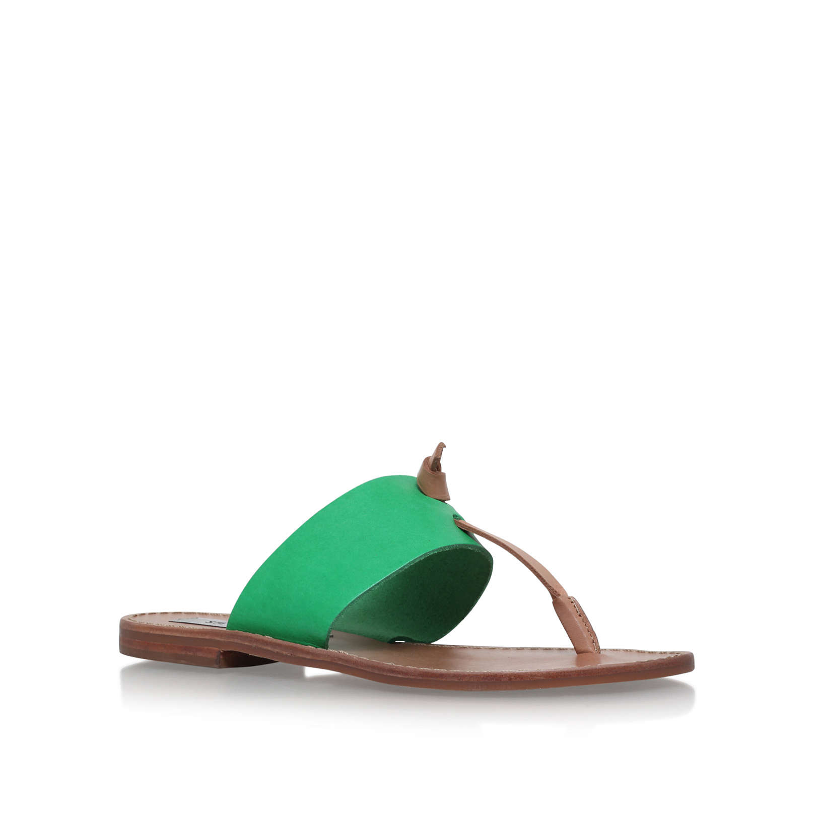 3de418f1109 OLIVIA Steve Madden Olivia Green Leather Flat Sandals by STEVE MADDEN