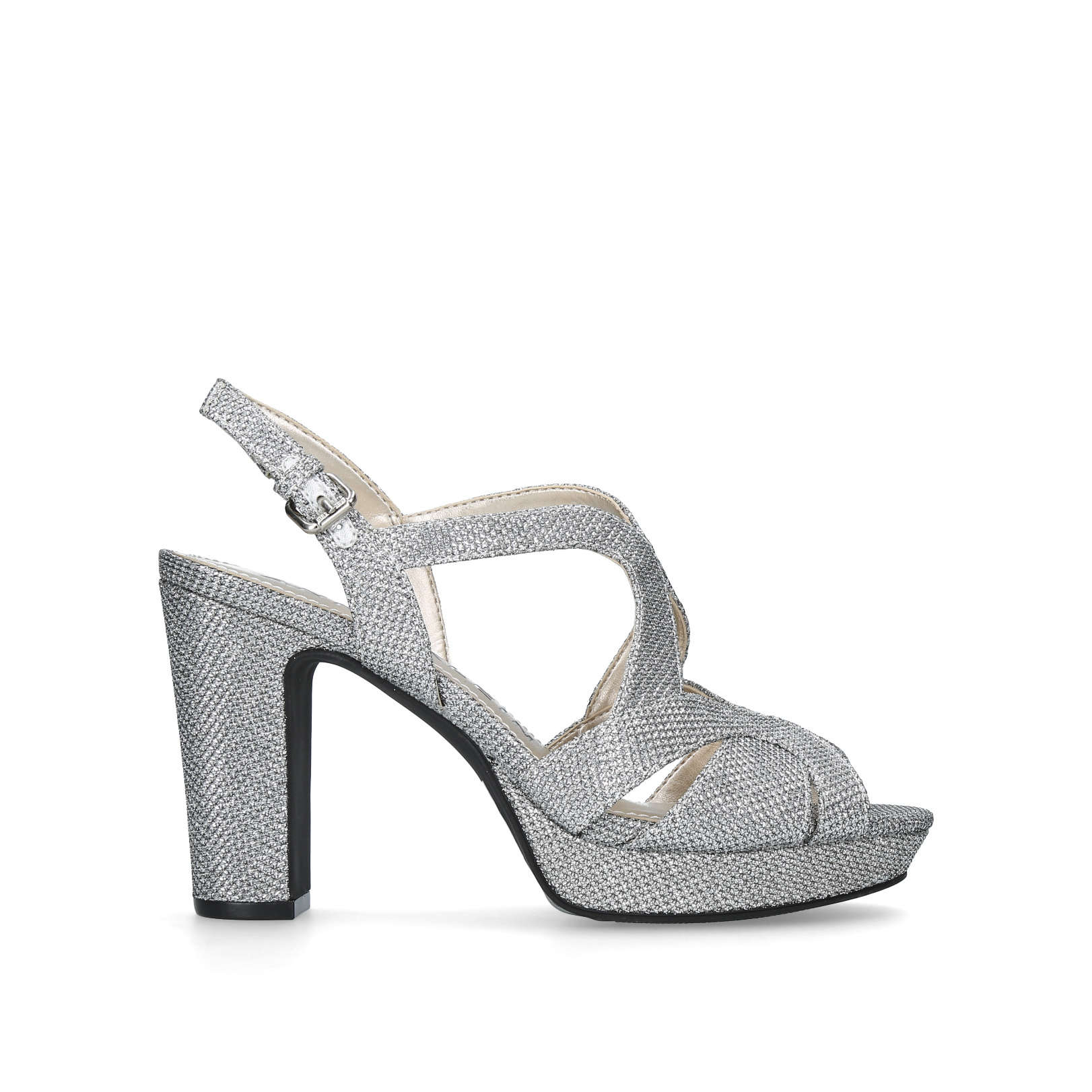 5d5d56cc71f PETRIA Anne Klein Petria Silver Occasion Heels Block Heel by ANNE KLEIN