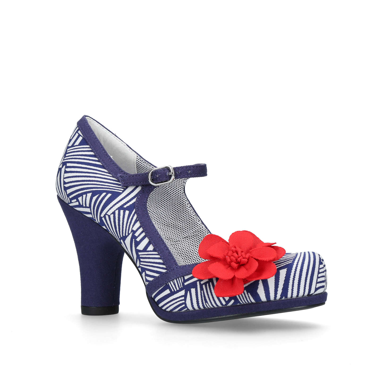 TANYA Ruby Shoo Tanya White   Navy Fabric   Other Occasion Heels Block Heel  by RUBY SHOO e54a82b607