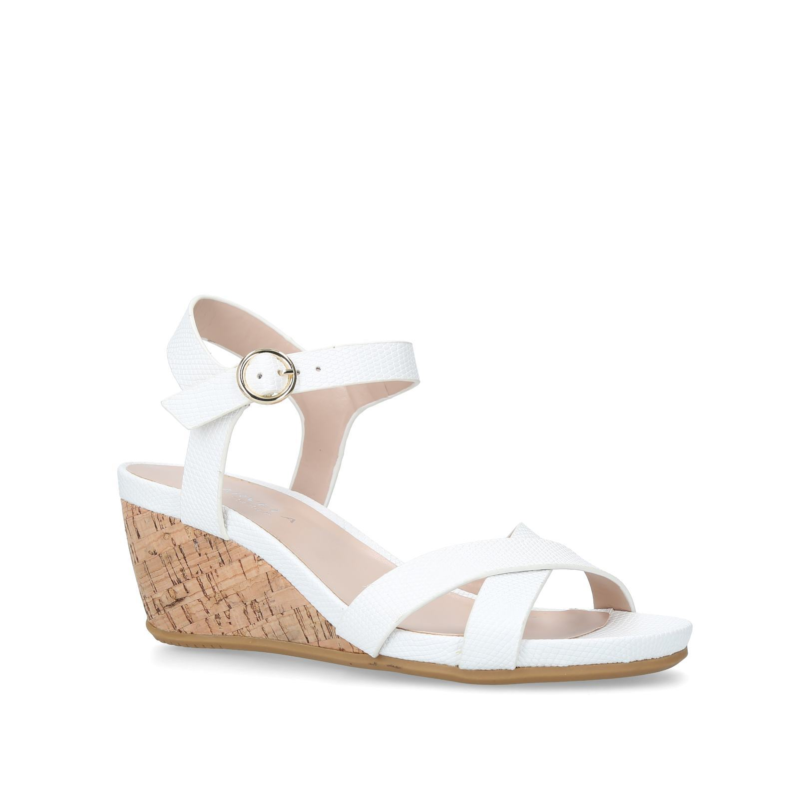 4a3f5b371b0 SPARKIE Carvela Sparkie White Low Wedge Sandal by CARVELA