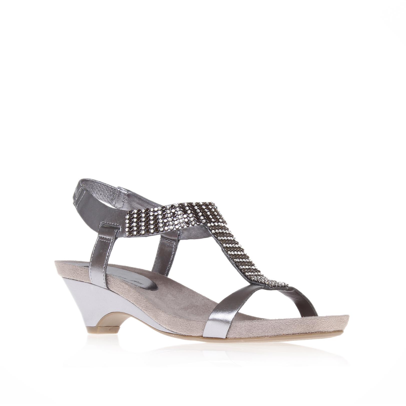 1789316637e TEALE Pewter mid heel gladiator sandals by ANNE KLEIN