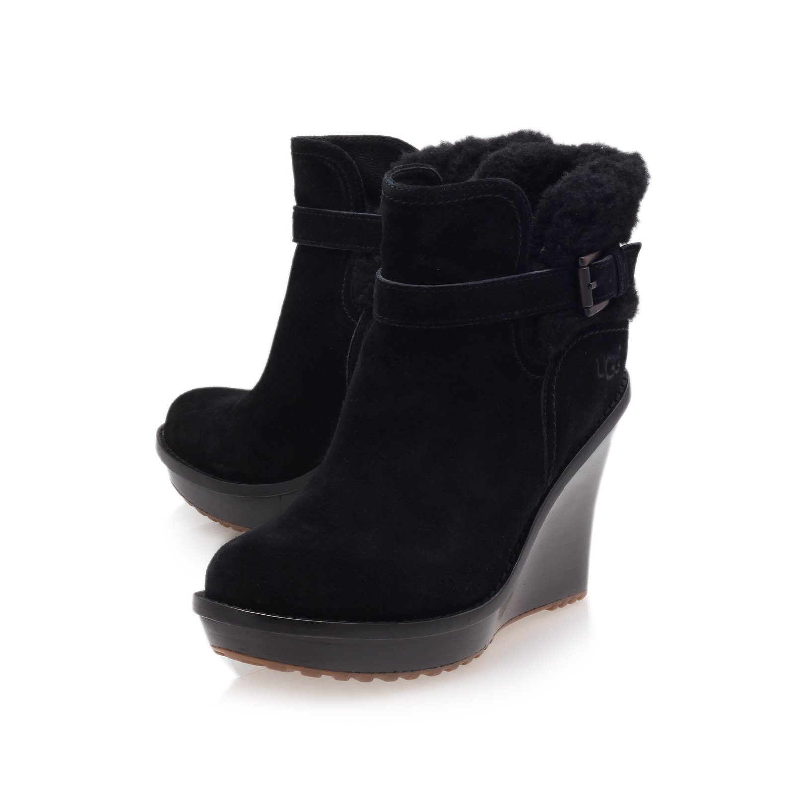 768fc855cf27 ... shop anais ugg anais black suede wedge ankle boot by ugg 02475 27f7b