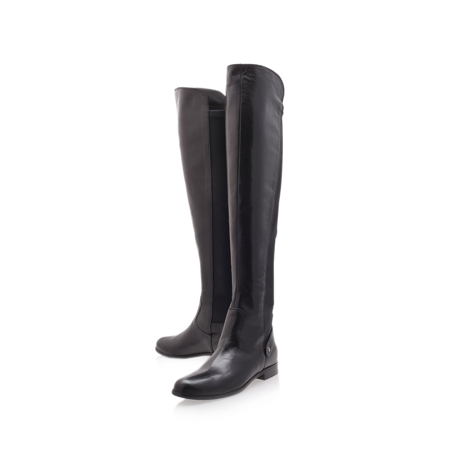 WOOD Carvela Wood Black Leather Flat Knee High Boots by CARVELA KURT GEIGER