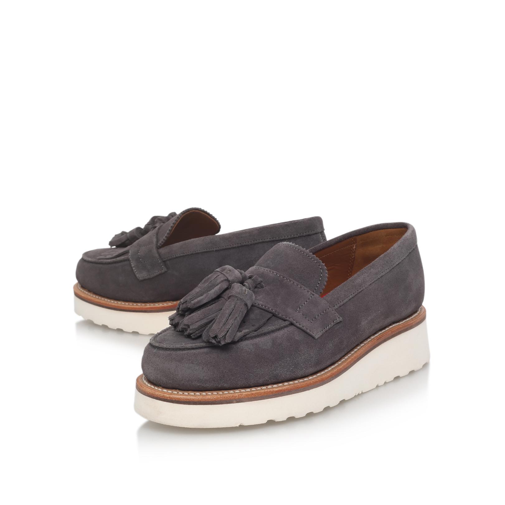 86e5dc6d642 CLARA Grenson Clara Grey Suede Loafers Flatform by GRENSON