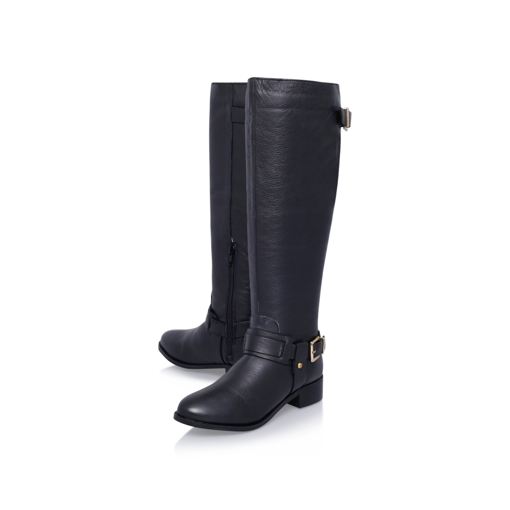 WANDSWORTH Miss KG Wandsworth Black Leather Flat High Leg Boot by MISS KG