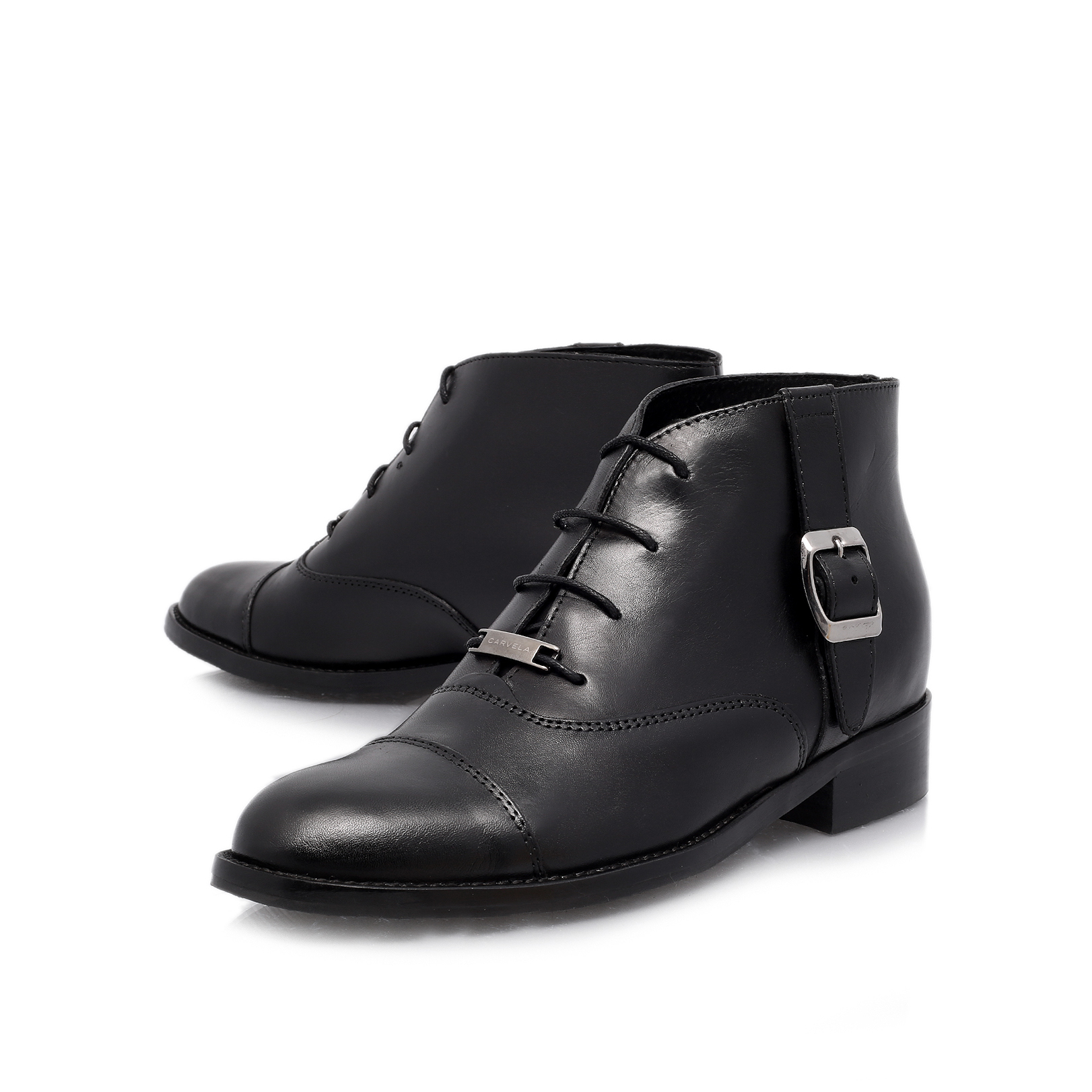 smart carvela smart black leather flat ankle boots by