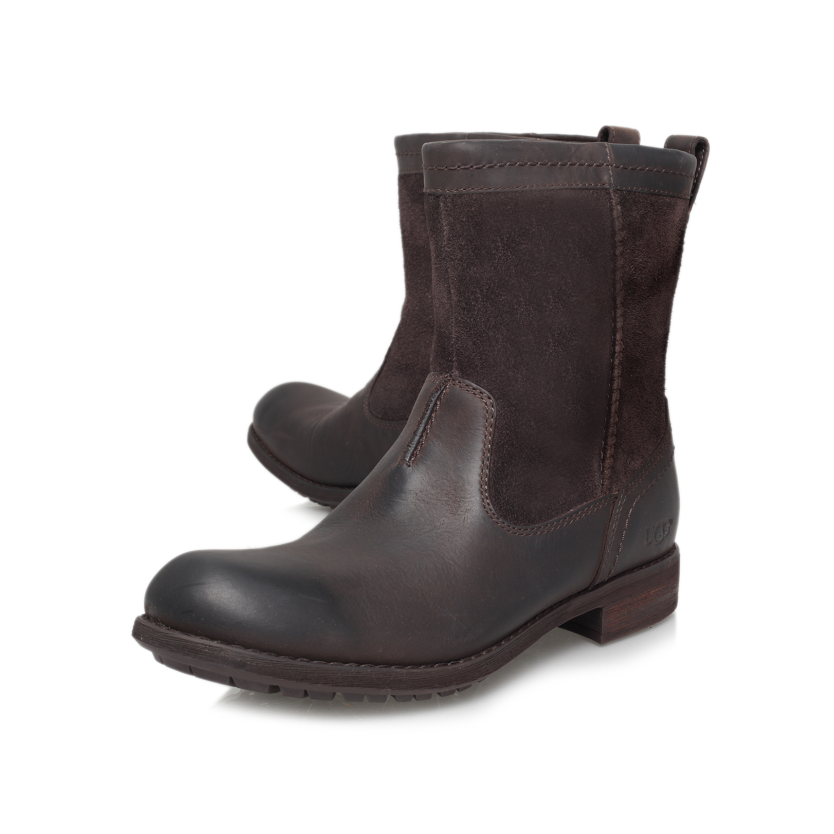 LERETTE FUR PULL BOOT Ugg Lerette Brown Leather Fur Pull Boots by UGG AUSTRALIA