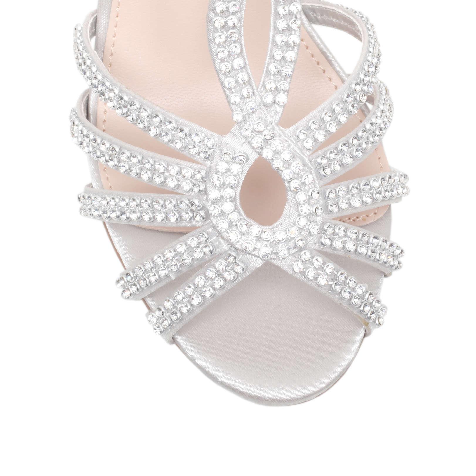 ff789de11858d9 PEPPER Miss KG Pepper Silver Satin High Heel Sandals by MISS KG