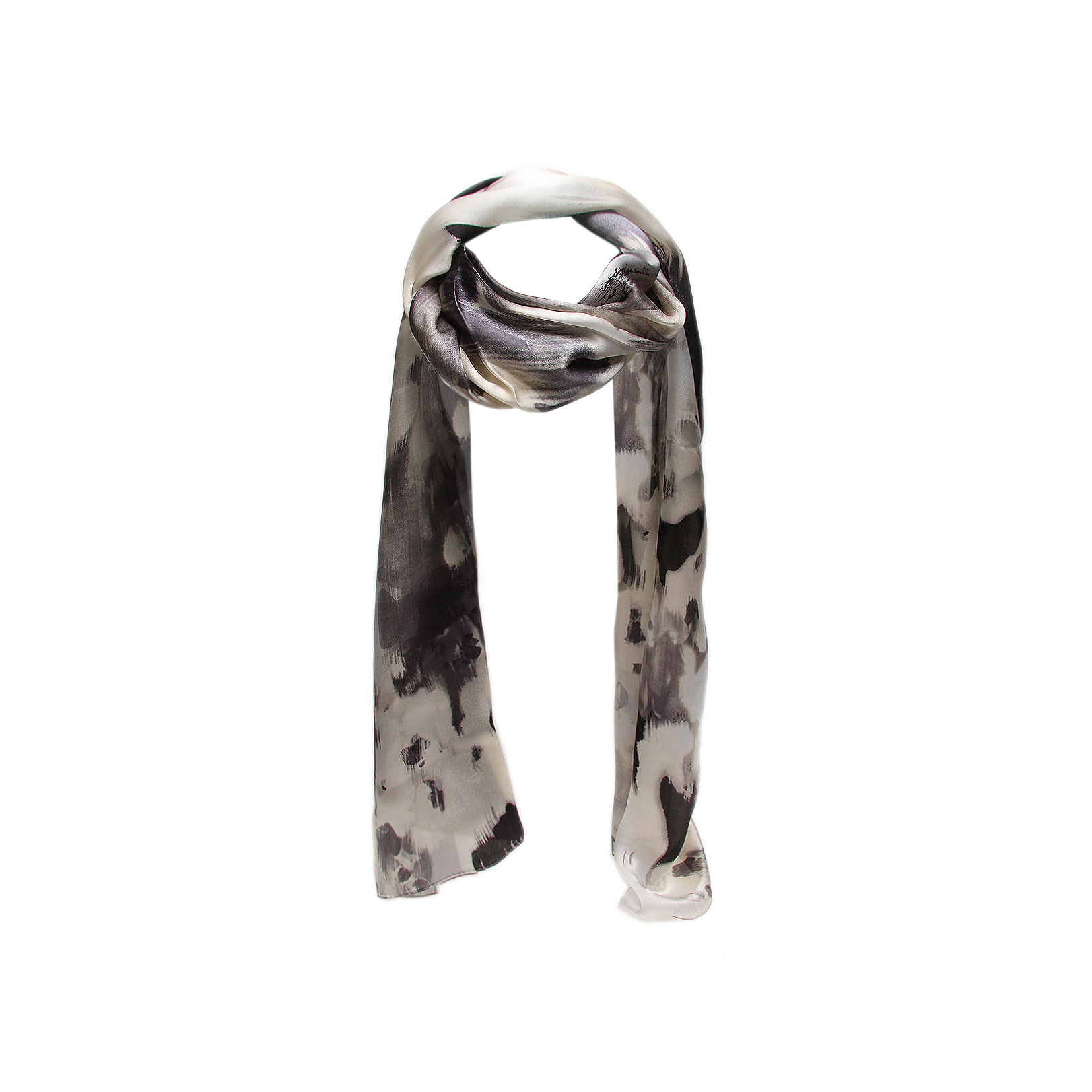 Vince Camuto Ink Flowers Silk Black Pattern Scarf By Vince Camuto