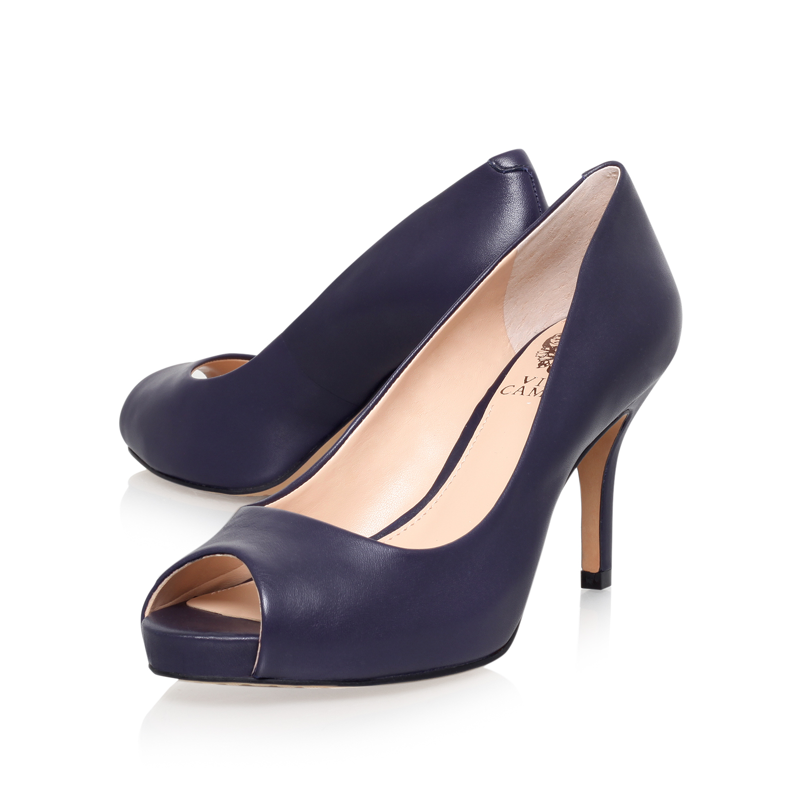 Navy Peep Toe Platform Shoes