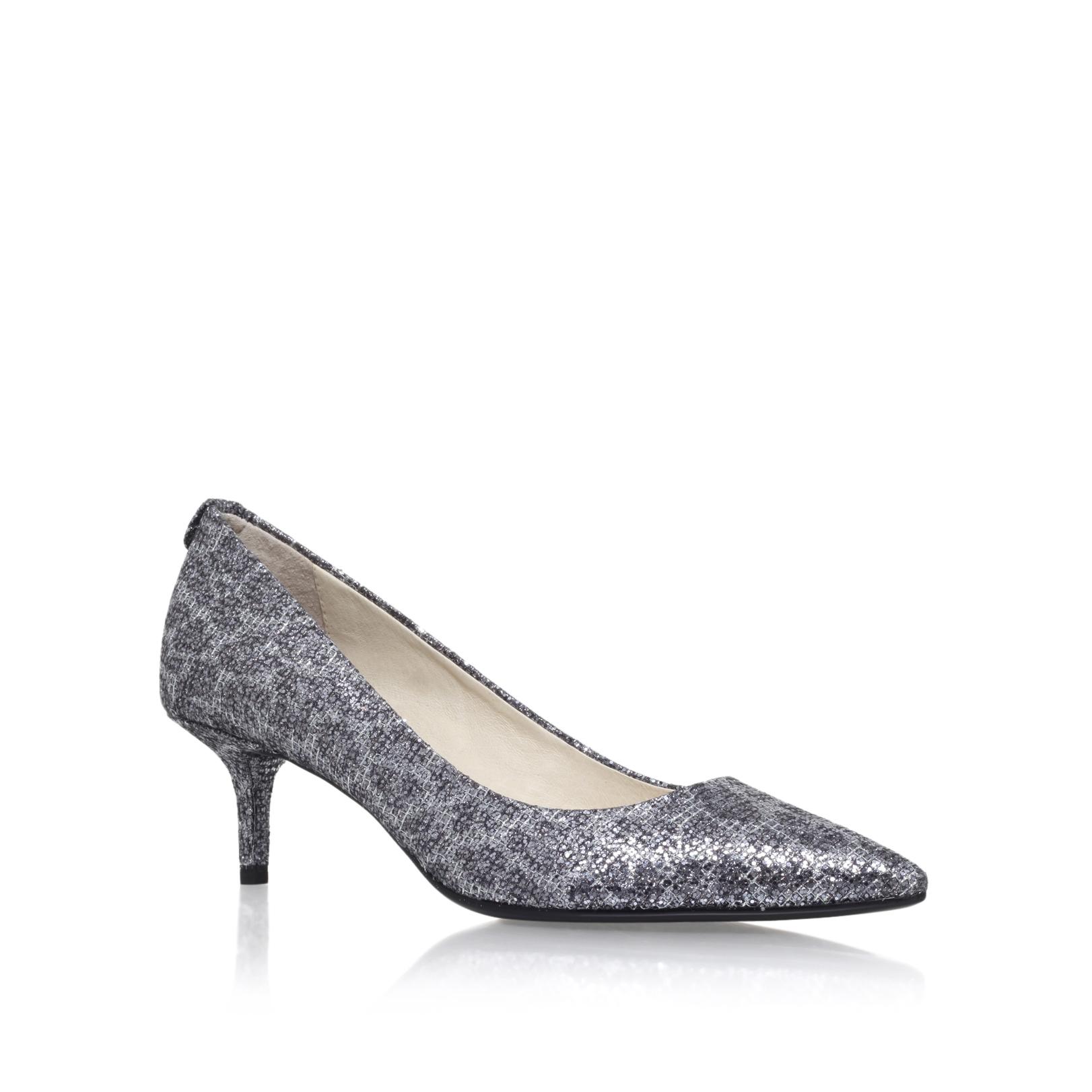5abb8757e786 MK FLEX KITTEN PUMP Michael Michael Kors Flex Gunmetal Mid Heel Court Shoes  by MICHAEL MICHAEL KORS