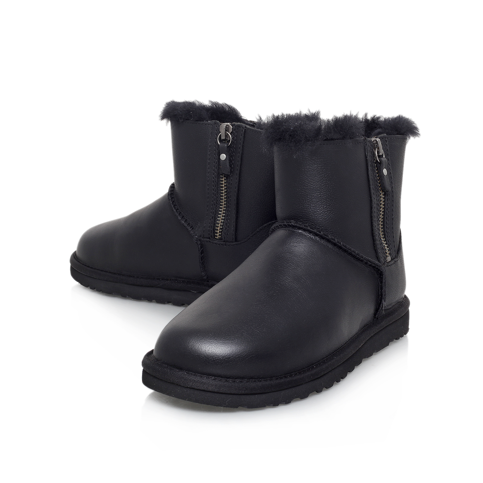 CLASSIC MINI DOUBLE ZIP Ugg Classic Mini Double Zip Black Leather Flat  Ankle Boot by UGG