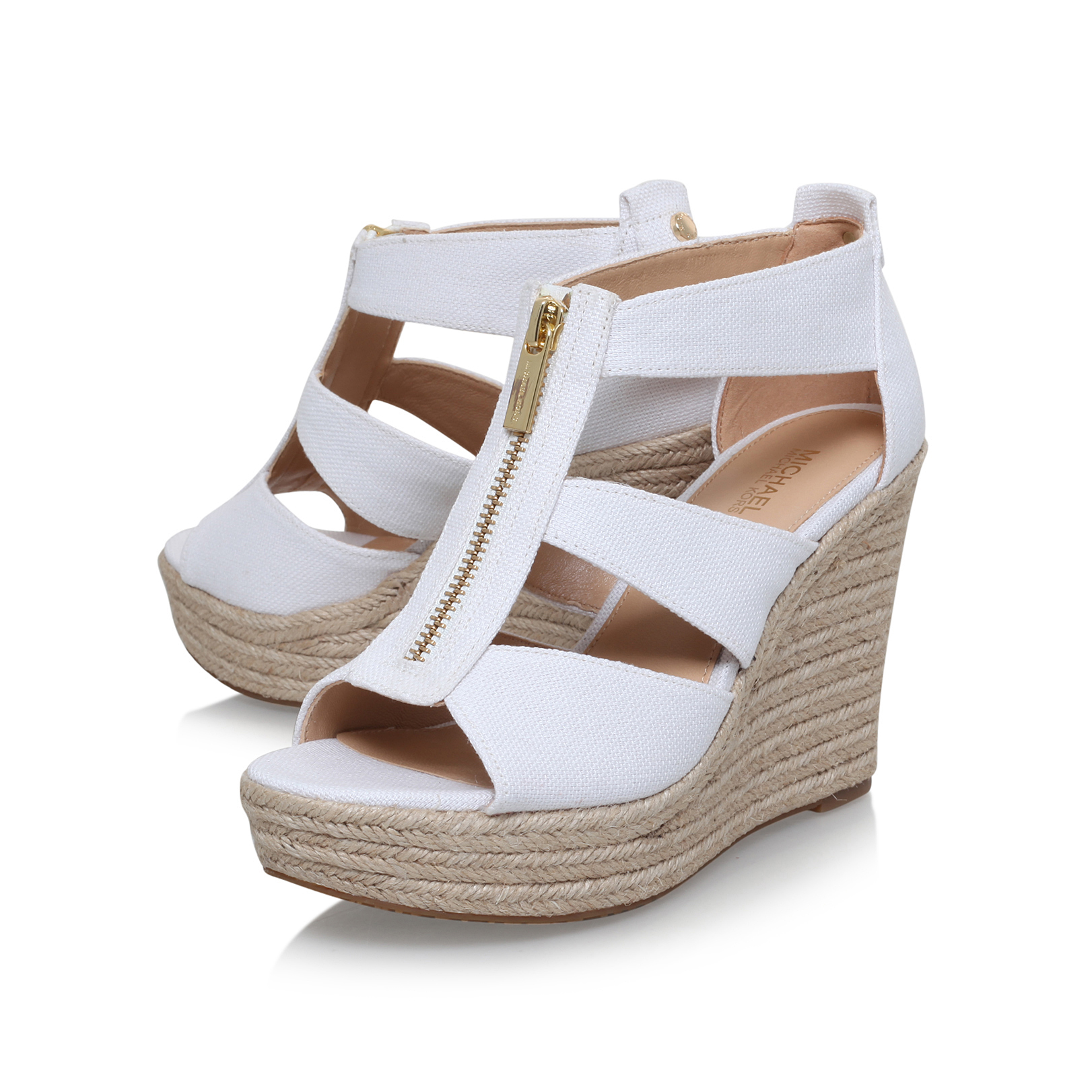 14ce0330b5a7 DAMITA WEDGE Michael Michael Kors Damita White High Heel Sandals by MICHAEL  MICHAEL KORS