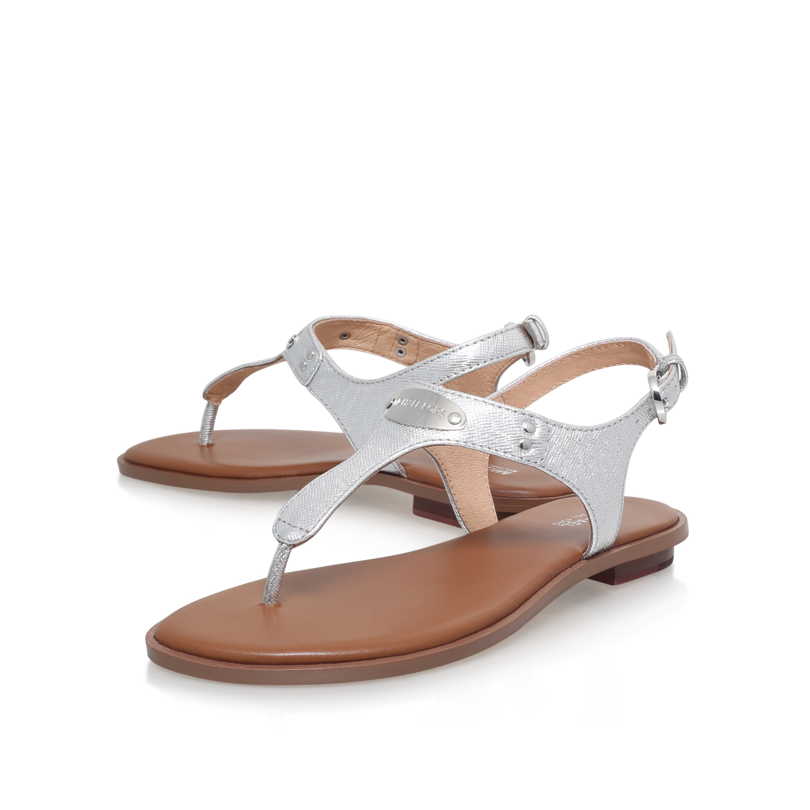 15fb169fdc0 MK PLATE THONG Michael Michael Kors Plate Thong Silver Flat Sandals ...