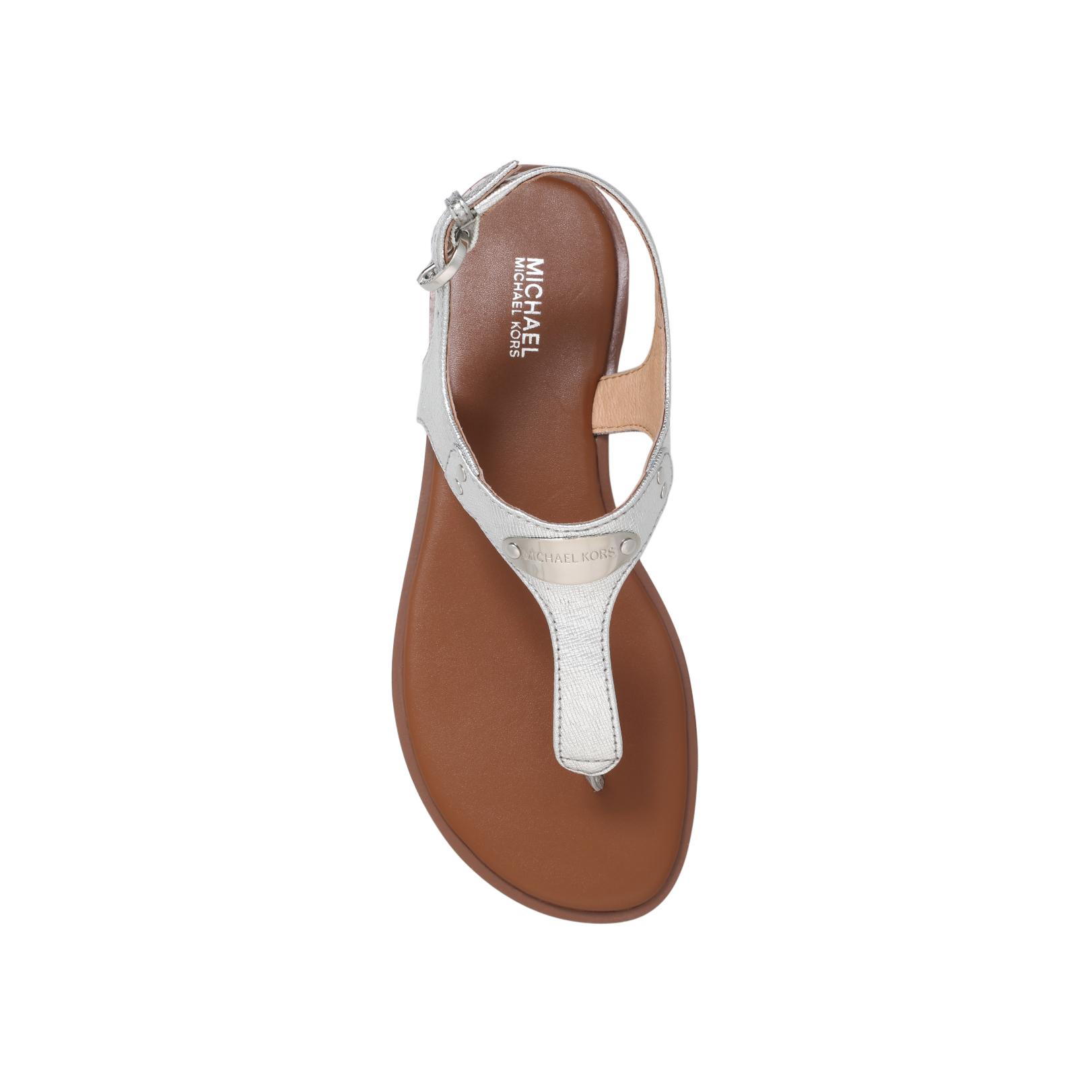 70aec52754a MK PLATE THONG Michael Michael Kors Plate Thong Silver Flat Sandals ...