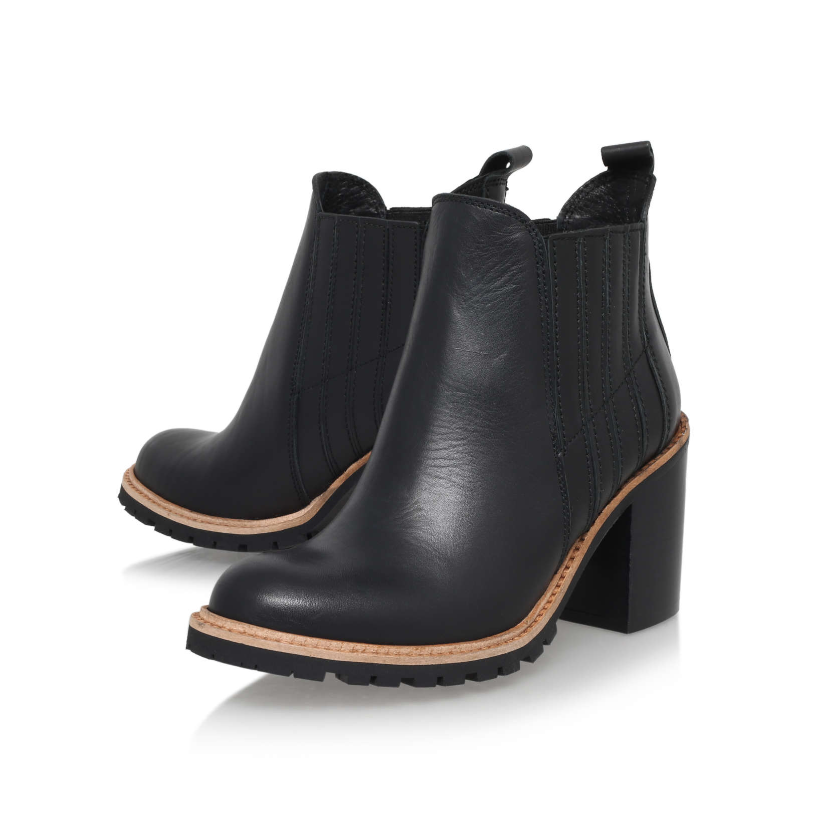 SALOON Kurt Geiger Saloon Black Leather Mid Heel Ankle Boots by KG ...