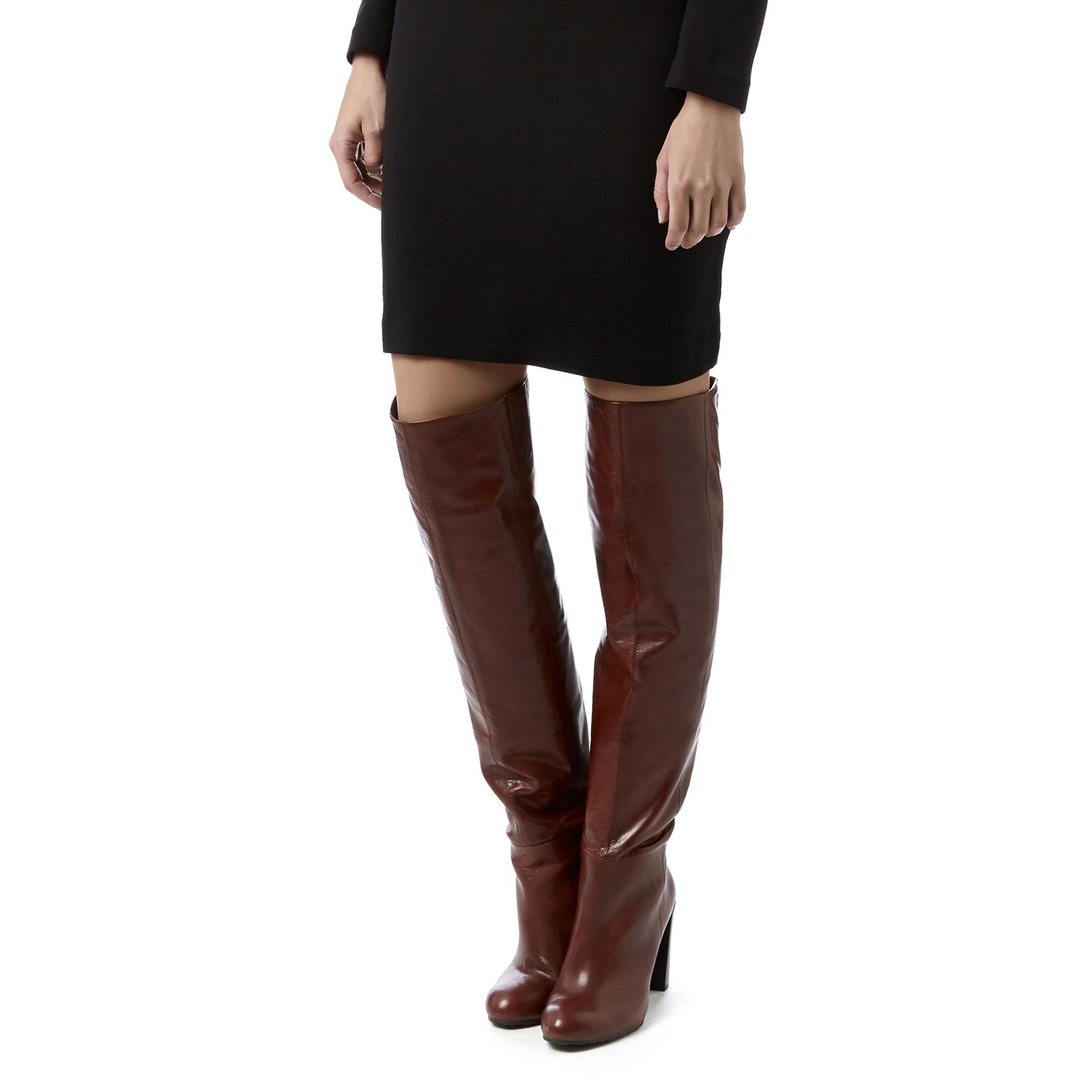 e15bc247cea SNOWFALL Nine West Snowfall Brown Leather High heel High Leg Boots ...