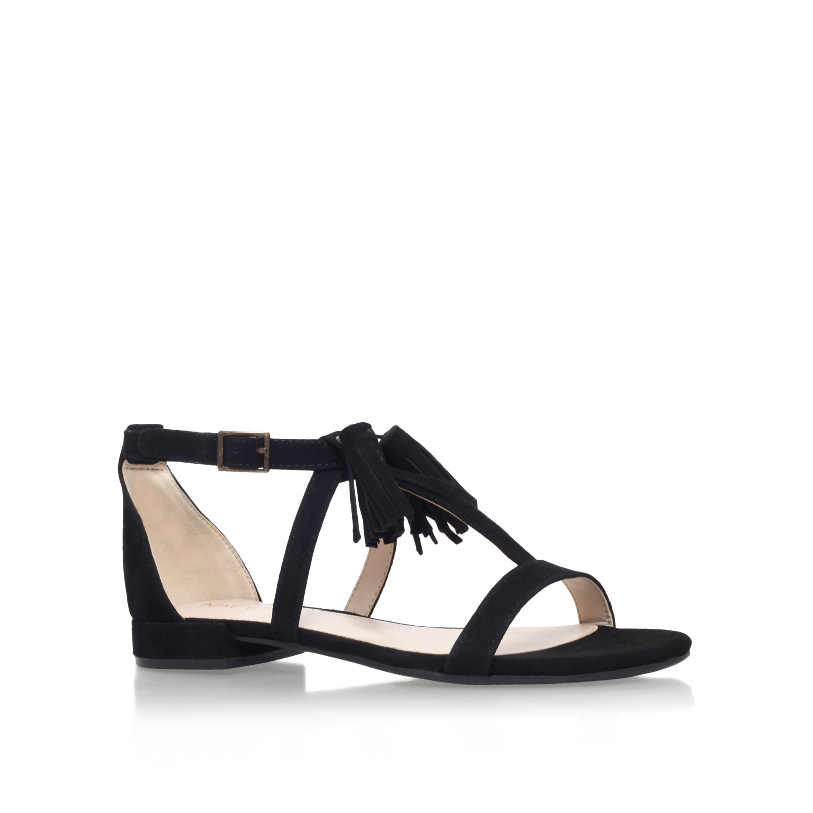 weslia nine west weslia black suede flat sandals by nine west