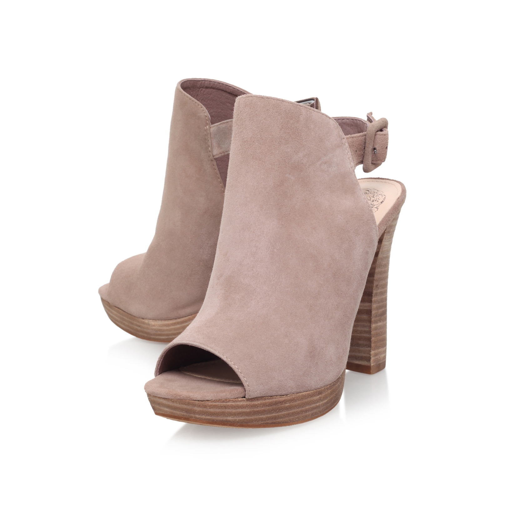 GILSA Vince Camuto Gilsa Taupe Leather High Heels Block Heel by VINCE CAMUTO