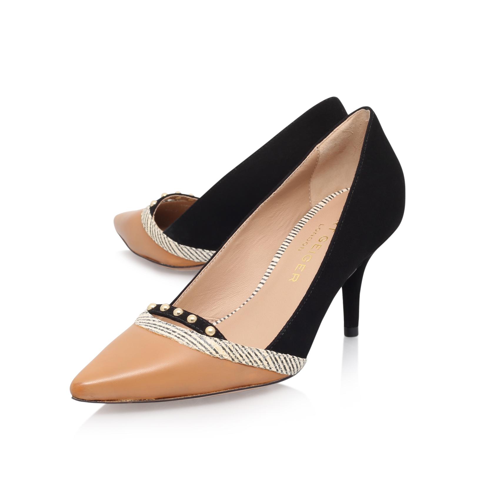 TIKKI Kurt Geiger Tikki Black Leather Mid Heel Court Shoes by KURT GEIGER  LONDON
