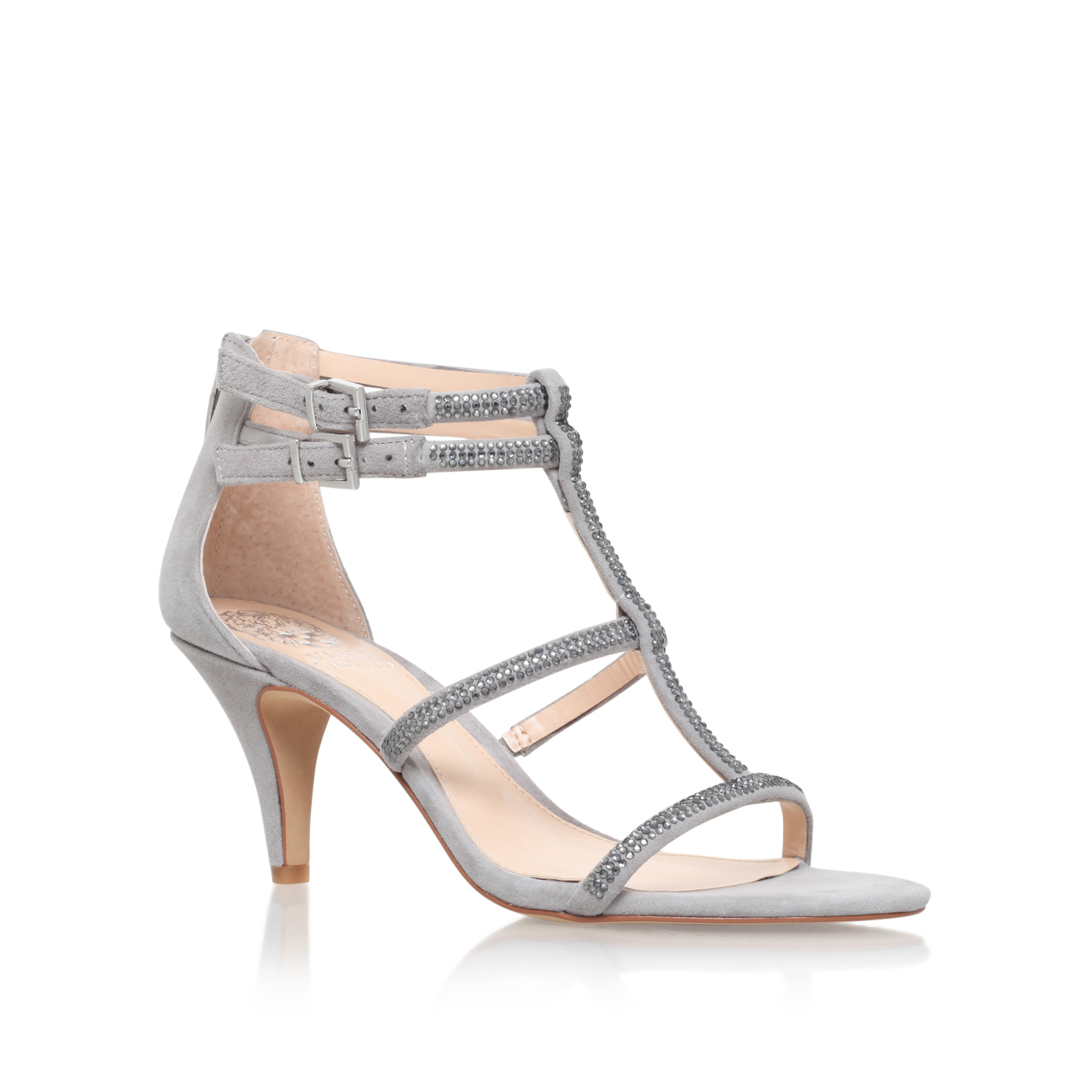 8f856f74a4 Vince Camuto | MALLA Grey Mid Heel Sandals by VINCE CAMUTO
