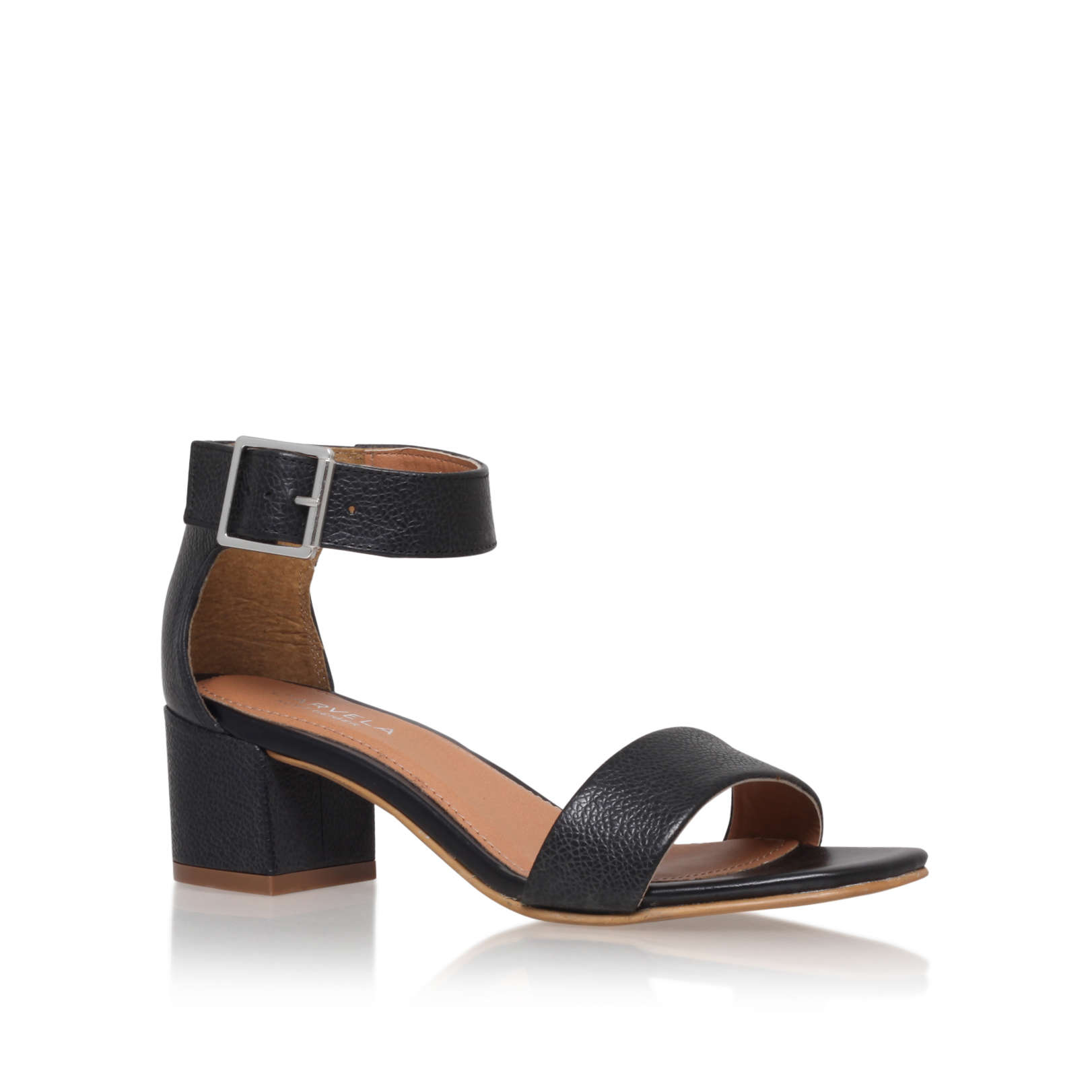 d393eb5bfb9 SHADOW Carvela Shadow Black Leather Sandals Block Heel by CARVELA