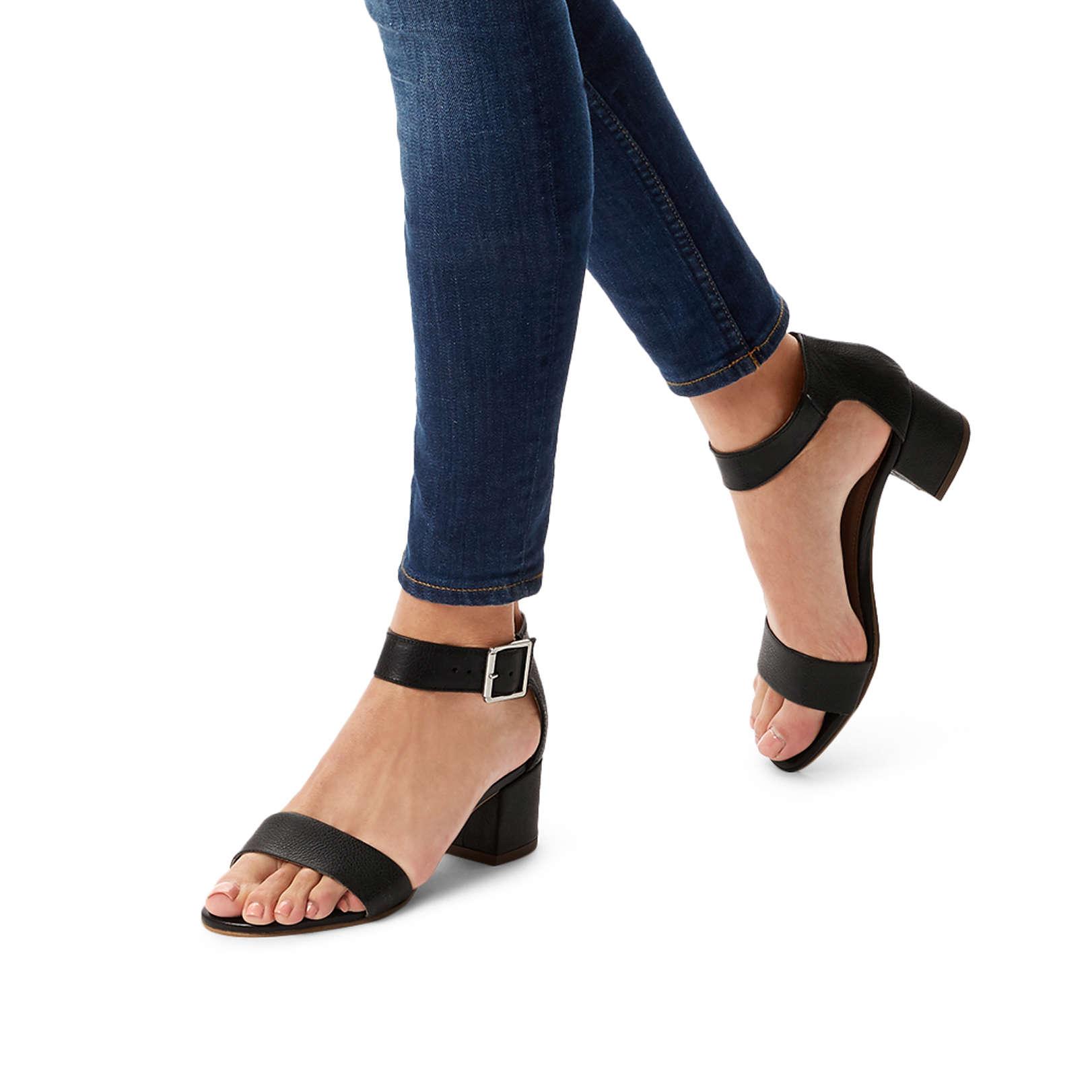 c02cd970a1a9 SHADOW Carvela Shadow Black Leather Sandals Block Heel by CARVELA