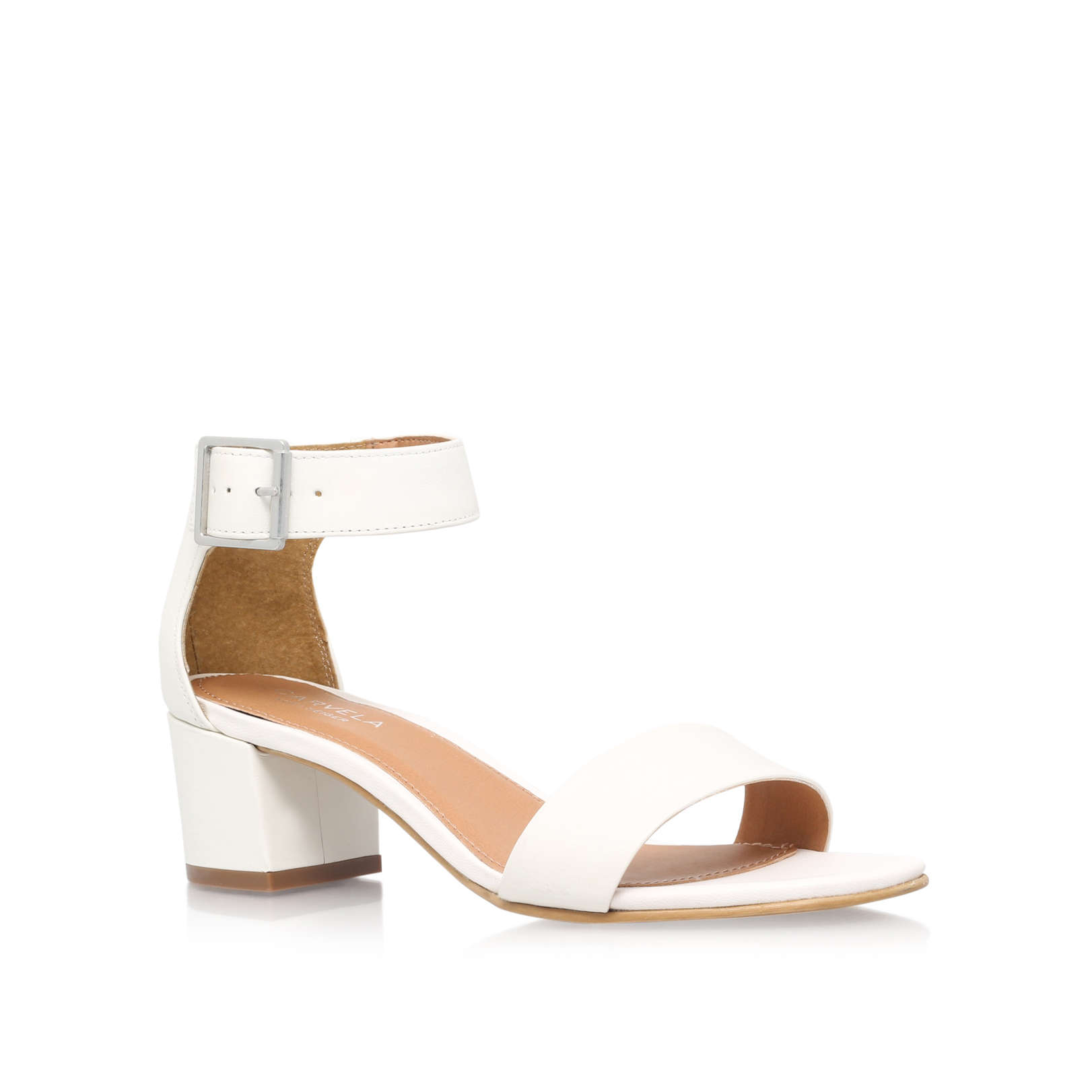 ae9f697e65d SHADOW Carvela Shadow White Leather Sandals Block Heel by CARVELA