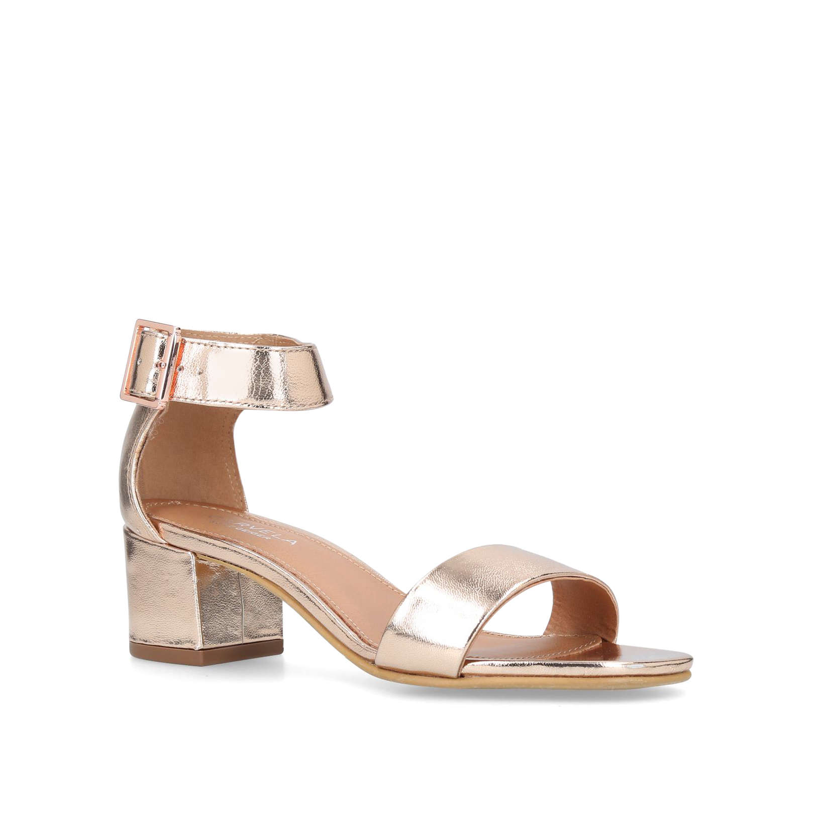 8cd674bbb4a SHADOW Carvela Shadow Bronze Leather Heeled Sandal Block Heel by CARVELA