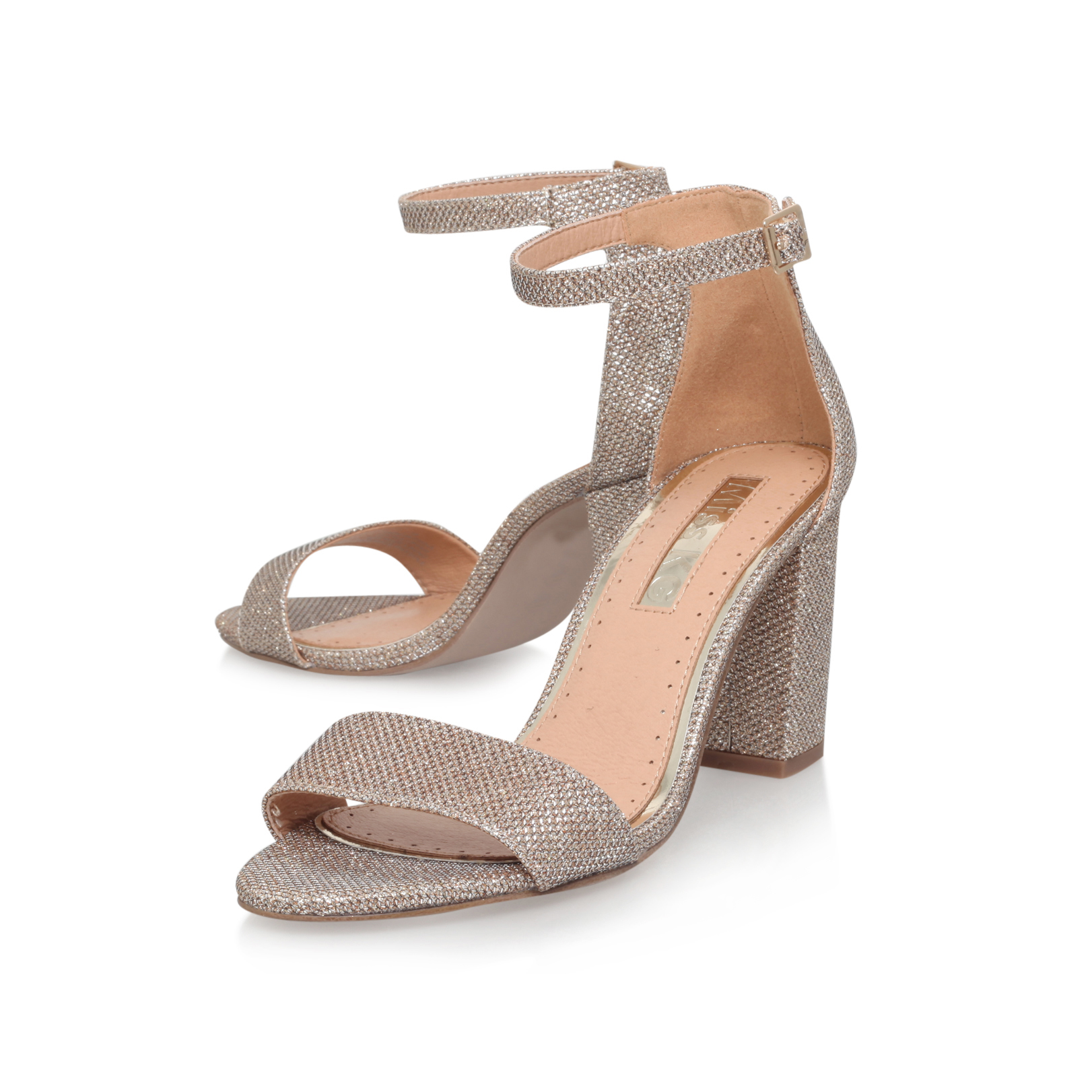 PEARL Miss KG Pearl Gold Mid Heel Sandals Block Heel by MISS KG 52840d649c7d