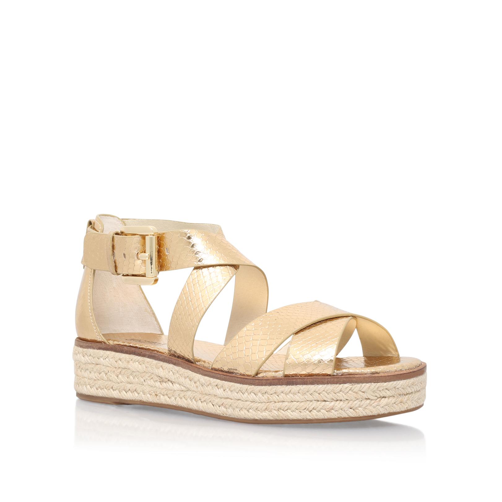 1bb7401558f DARBY SANDAL Michael Michael Kors Darby Sandal Gold Snake Print Flat Sandals  Flatform by MICHAEL MICHAEL KORS