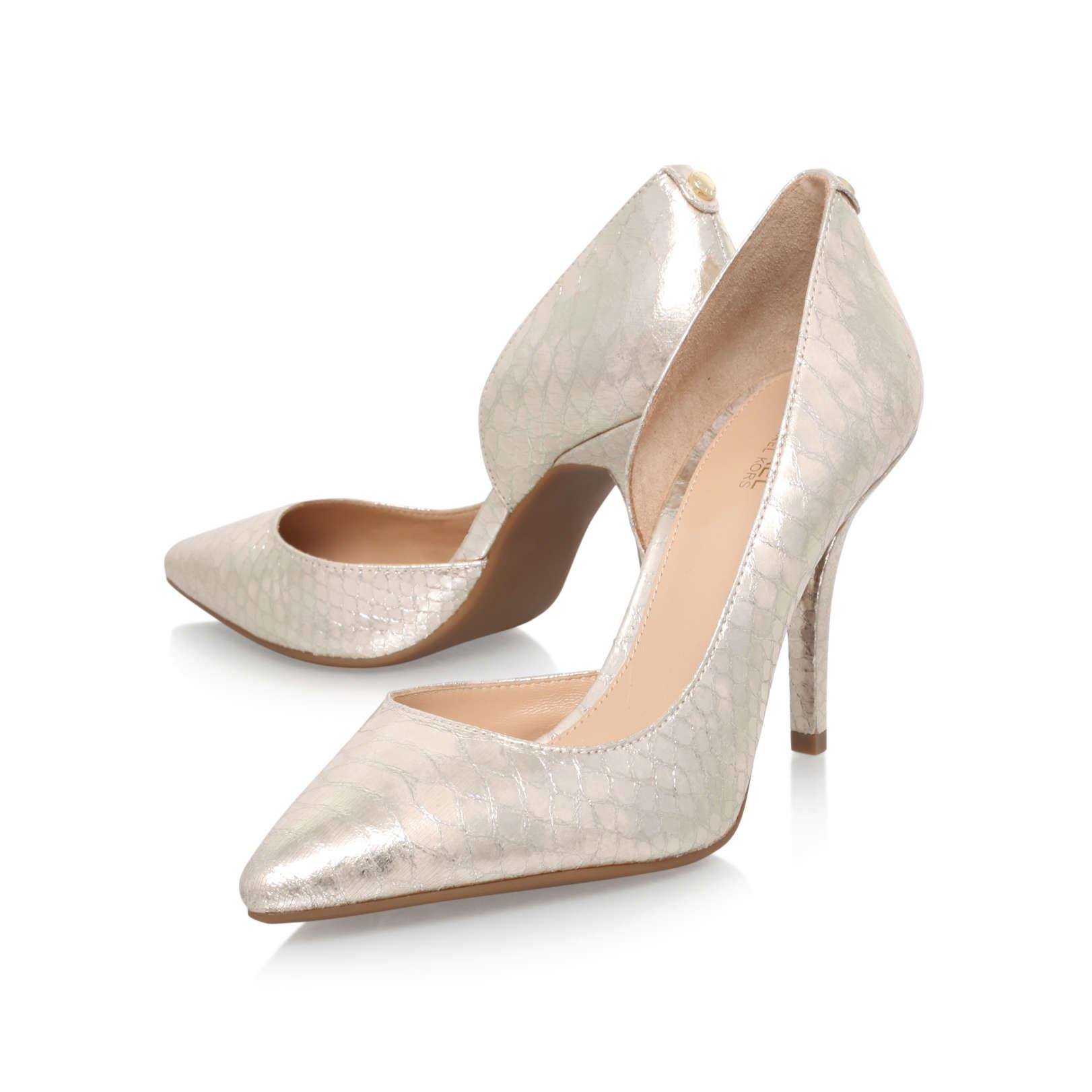 485ce62d665 ... NATHALIE FLEX HIGH PUMP Michael Michael Kors Nathalie Flex High Pump  Gold Printed Leather High Heel .