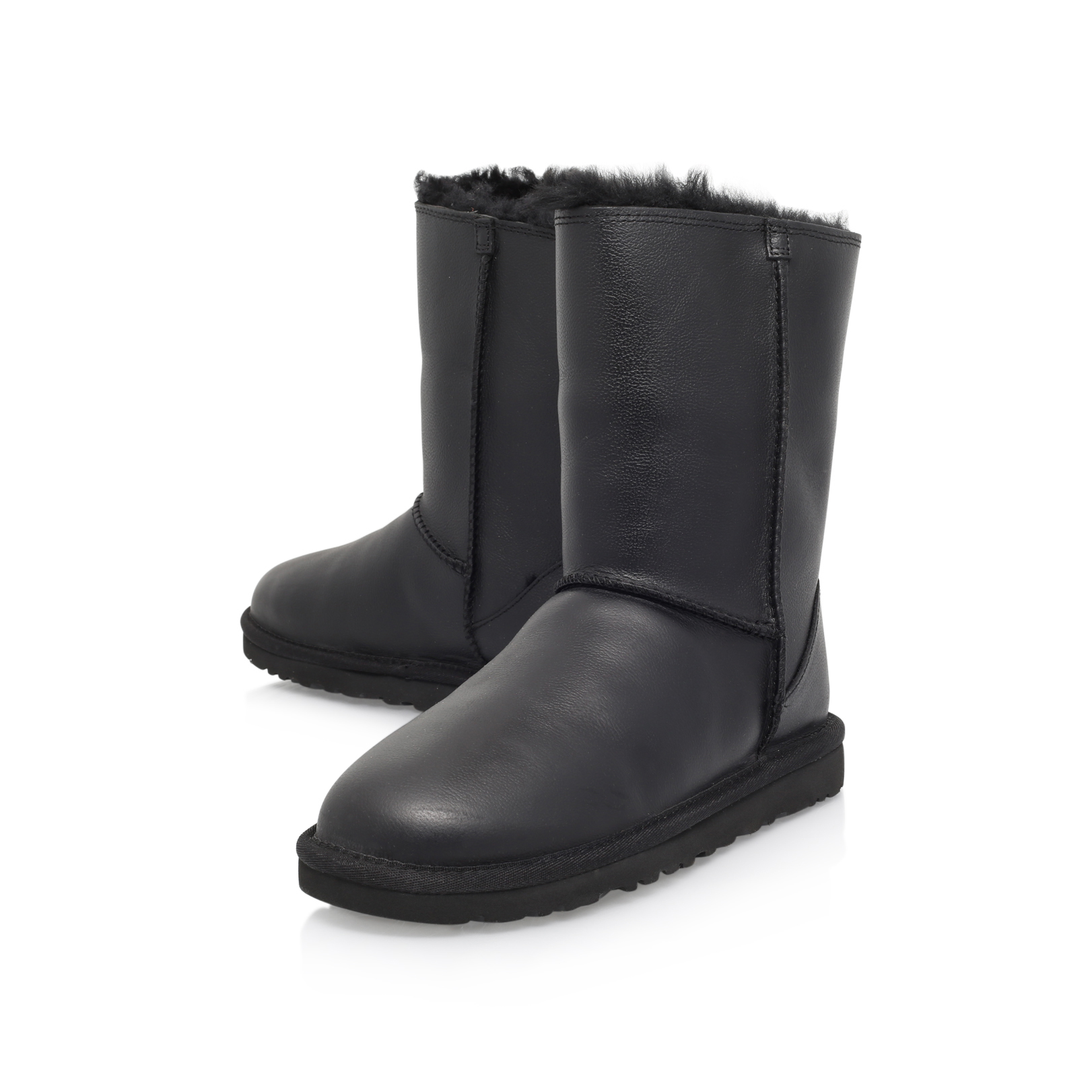CLASSIC SHORT ZIP Ugg Classic Short Zip Black Leather Flat Ankle Boot by UGG