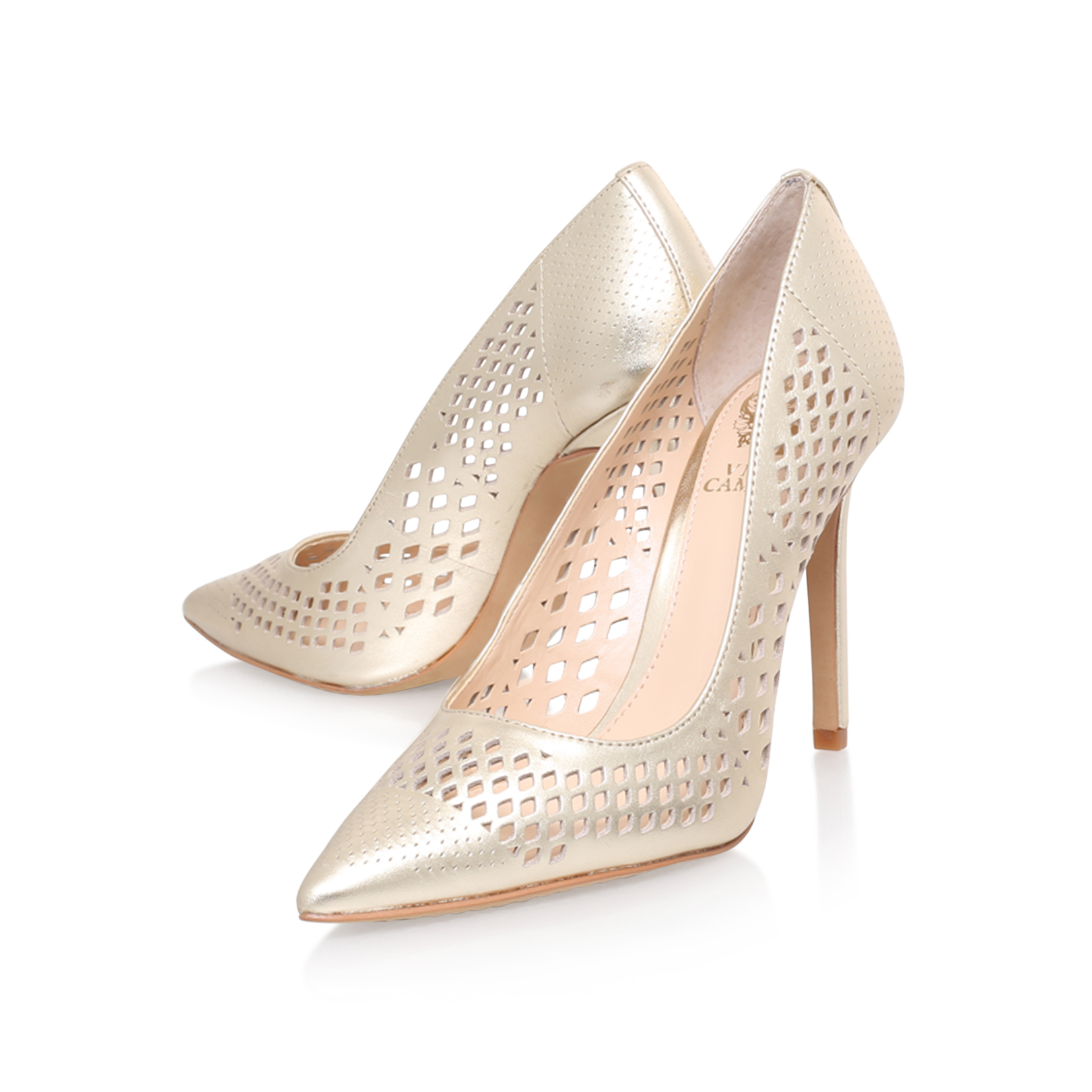 Vince Camuto Nico Gold High Heel Court Shoes By Vince Camuto